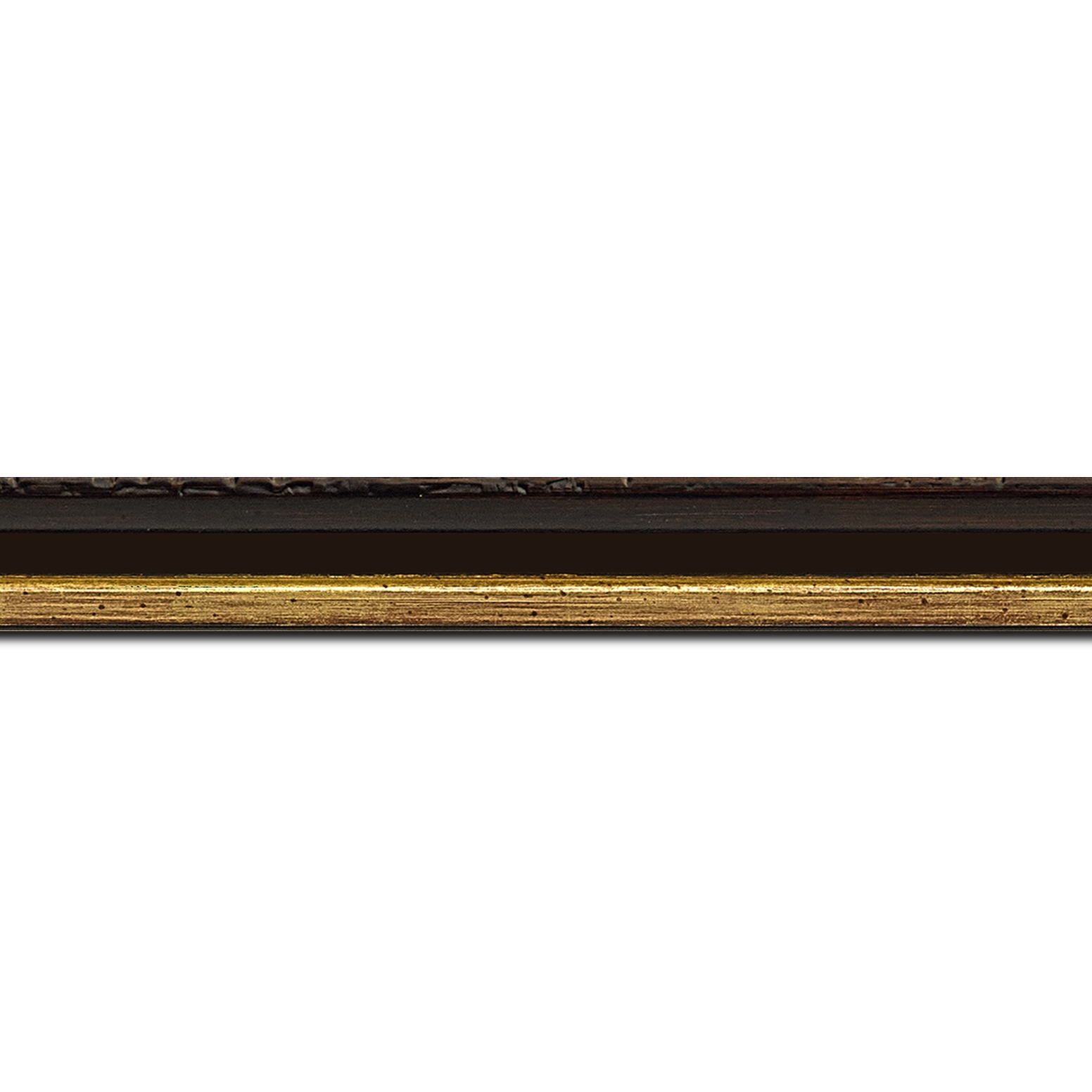Baguette longueur 1.40m bois profil incurvé largeur 2cm noir lie de vin très foncé de finition antique filet or