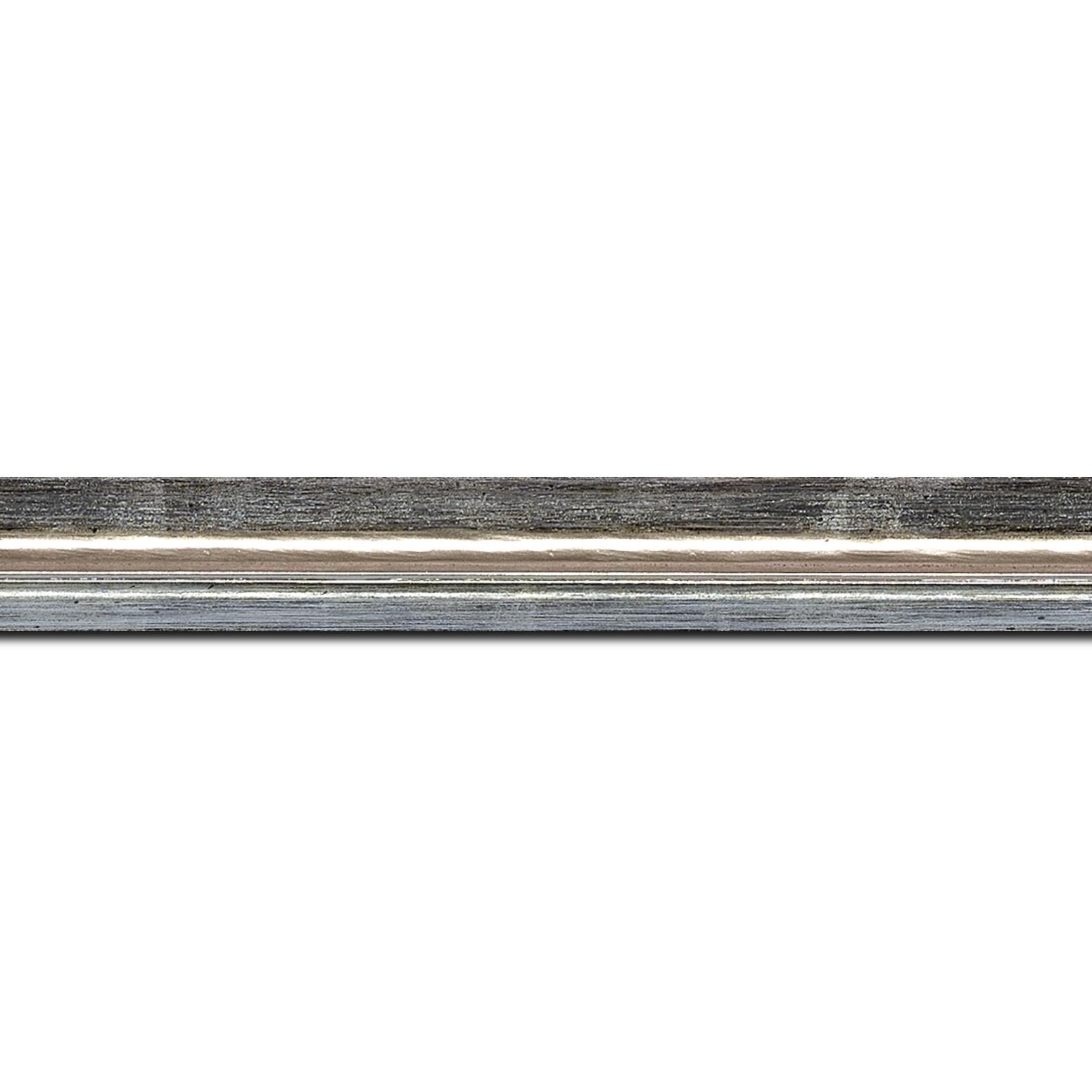 Pack par 12m, bois profil incurvé largeur 2cm couleur argent coté extérieur foncé. finition haut de gamme car dorure à l'eau fait main (longueur baguette pouvant varier entre 2.40m et 3m selon arrivage des bois)
