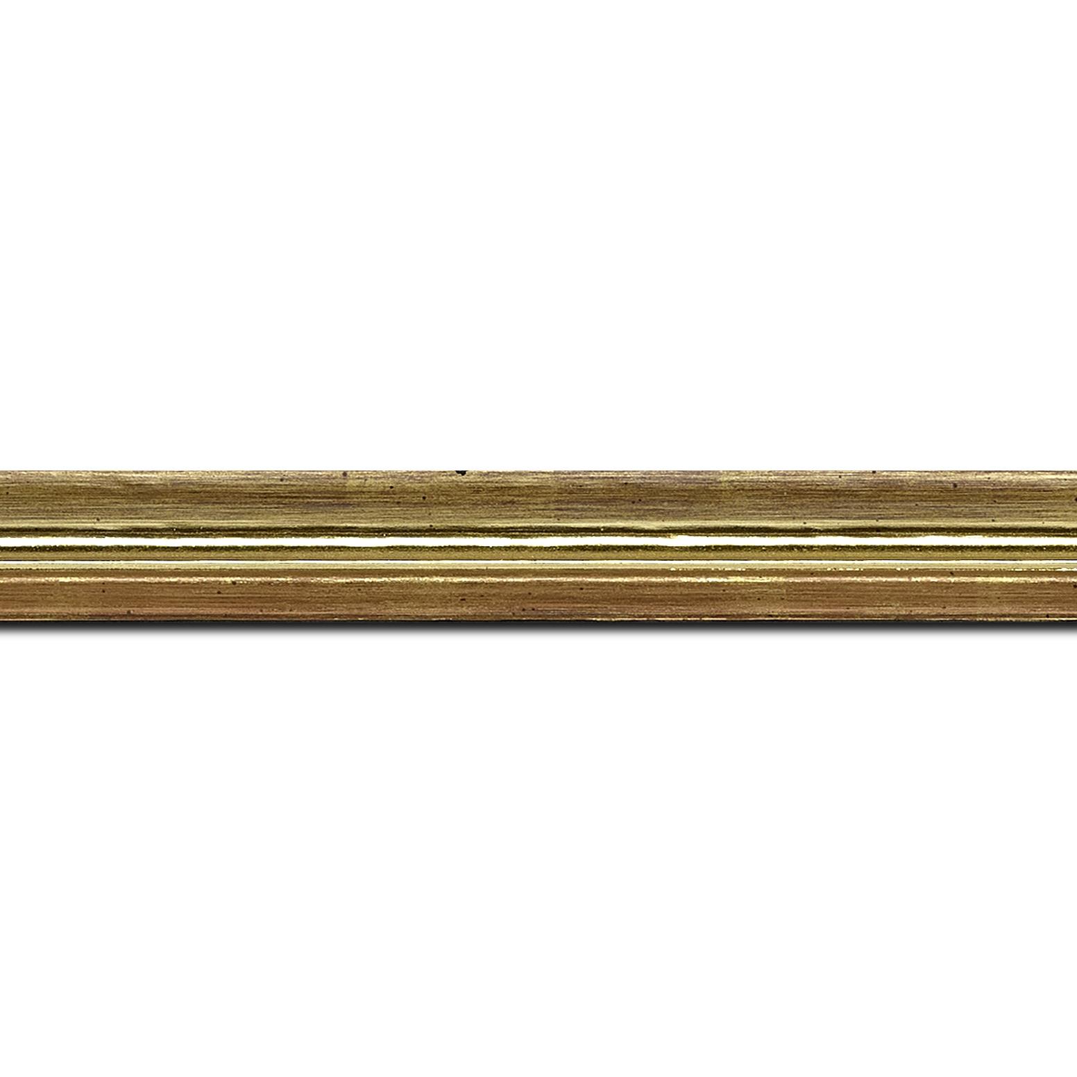 Pack par 12m, bois profil incurvé largeur 2cm couleur or coté extérieur foncé. finition haut de gamme car dorure à l'eau fait main (longueur baguette pouvant varier entre 2.40m et 3m selon arrivage des bois)