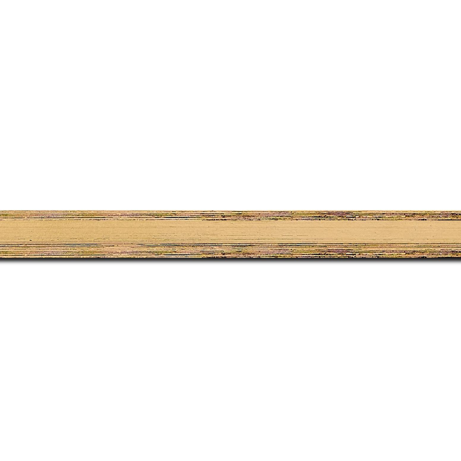 Pack par 12m, bois profil plat en pente largeur 1.4cm couleur or coté extérieur foncé. finition haut de gamme car dorure à l'eau fait main (longueur baguette pouvant varier entre 2.40m et 3m selon arrivage des bois)