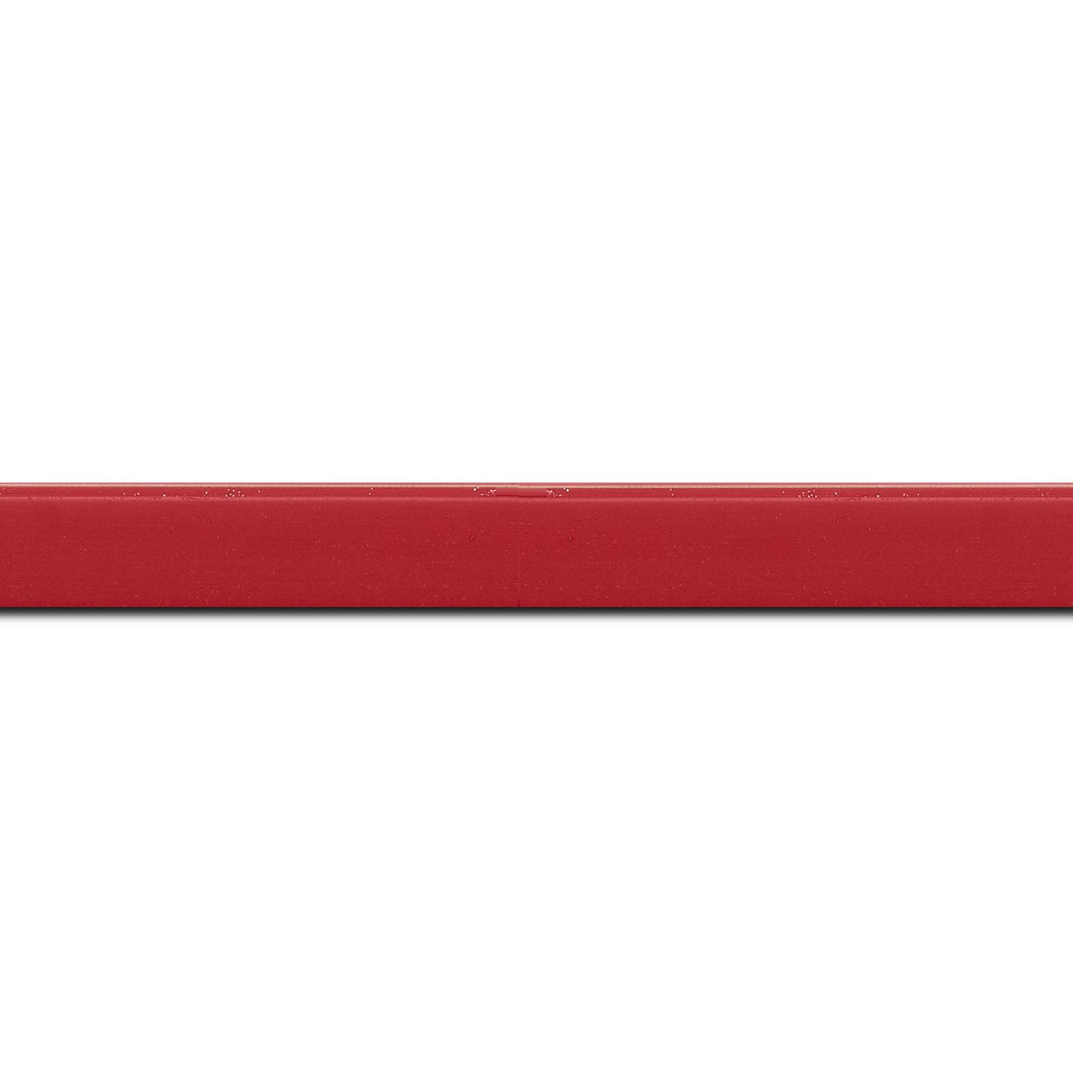 Baguette longueur 1.40m bois profil plat effet cube largeur 1.7cm couleur rouge anglais satiné