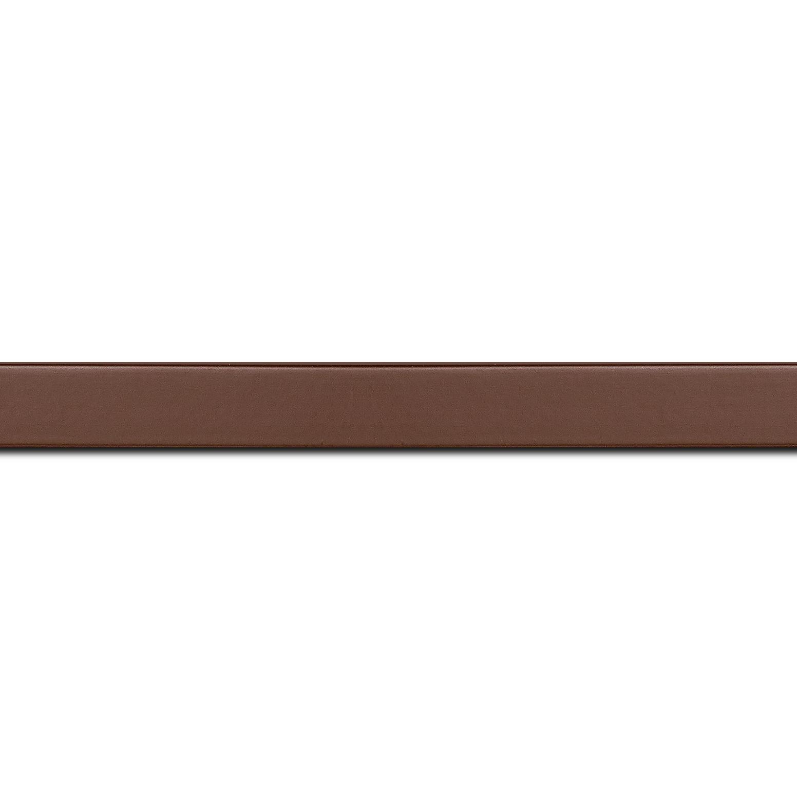 Baguette longueur 1.40m bois profil plat effet cube largeur 1.7cm couleur chocolat satiné