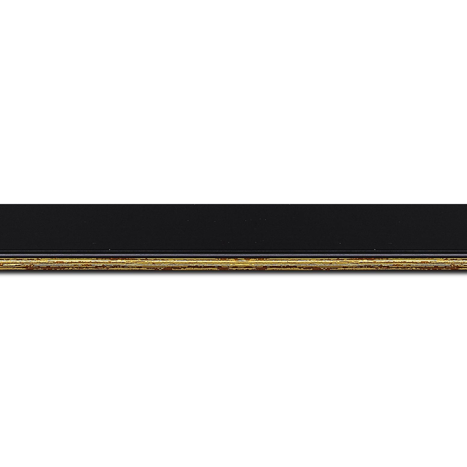 Pack par 12m, bois profil plat largeur 2.5cm couleur noir finition pore bouché filet or (longueur baguette pouvant varier entre 2.40m et 3m selon arrivage des bois)