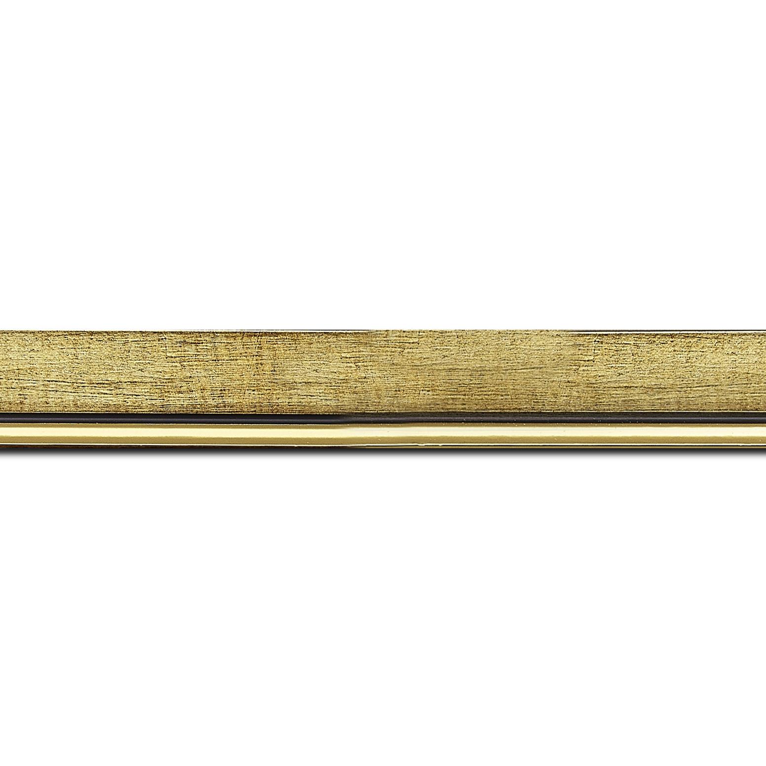 Pack par 12m, bois profil plat largeur 2.5cm couleur or filet or surligné noir (longueur baguette pouvant varier entre 2.40m et 3m selon arrivage des bois)