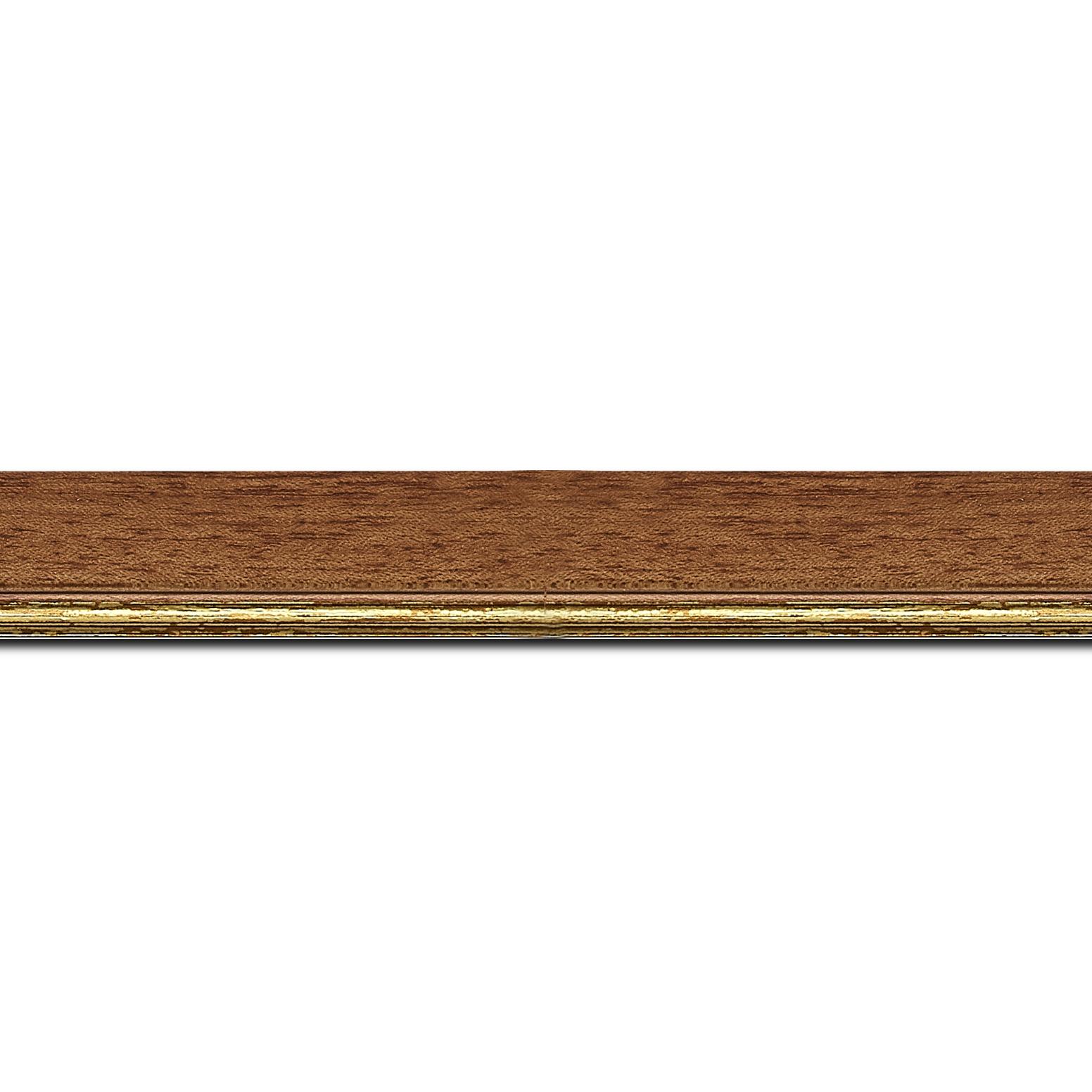Pack par 12m, bois profil plat largeur 2.5cm couleur marron ton bois filet or (longueur baguette pouvant varier entre 2.40m et 3m selon arrivage des bois)