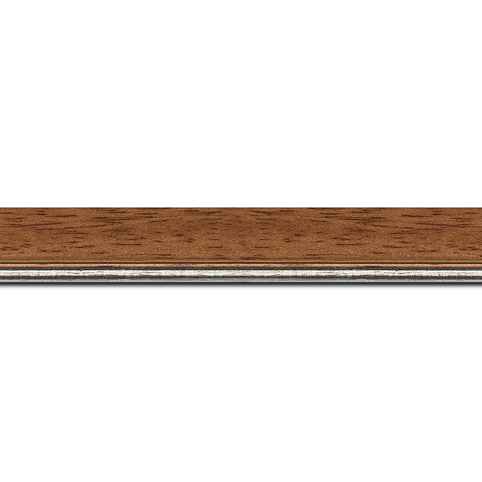 Baguette longueur 1.40m bois profil plat largeur 2.5cm couleur marron ton bois filet argent