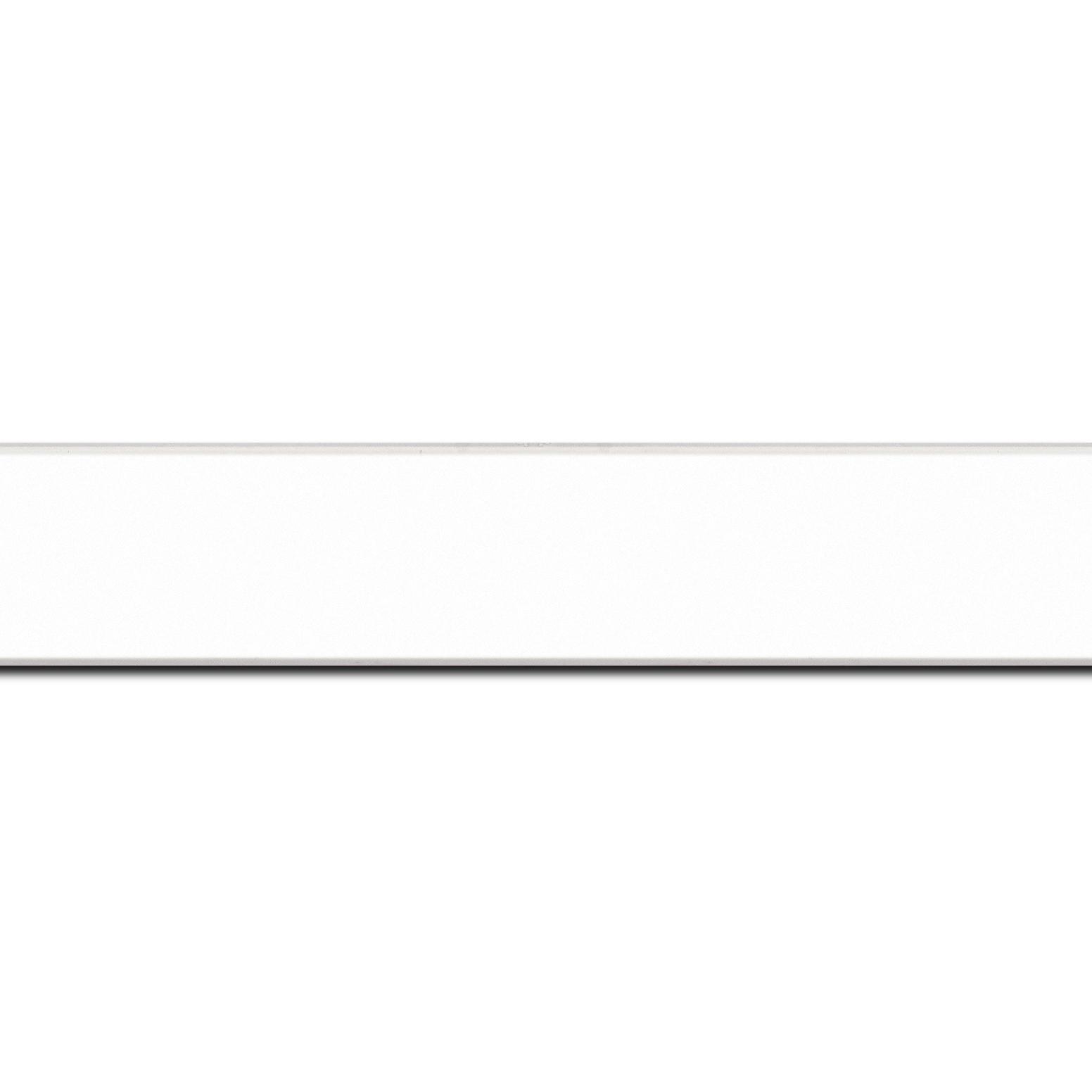 Baguette longueur 1.40m bois profil plat largeur 2.5cm hauteur 4.8cm couleur blanc mat finition pore bouché (hauteur feuillure 4.3cm )