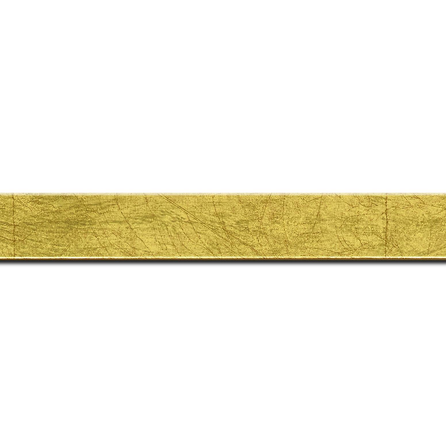 Pack par 12m, bois profil plat largeur 2.5cm hauteur 4.8cm or effet marbré (hauteur feuillure 4.3cm )(longueur baguette pouvant varier entre 2.40m et 3m selon arrivage des bois)