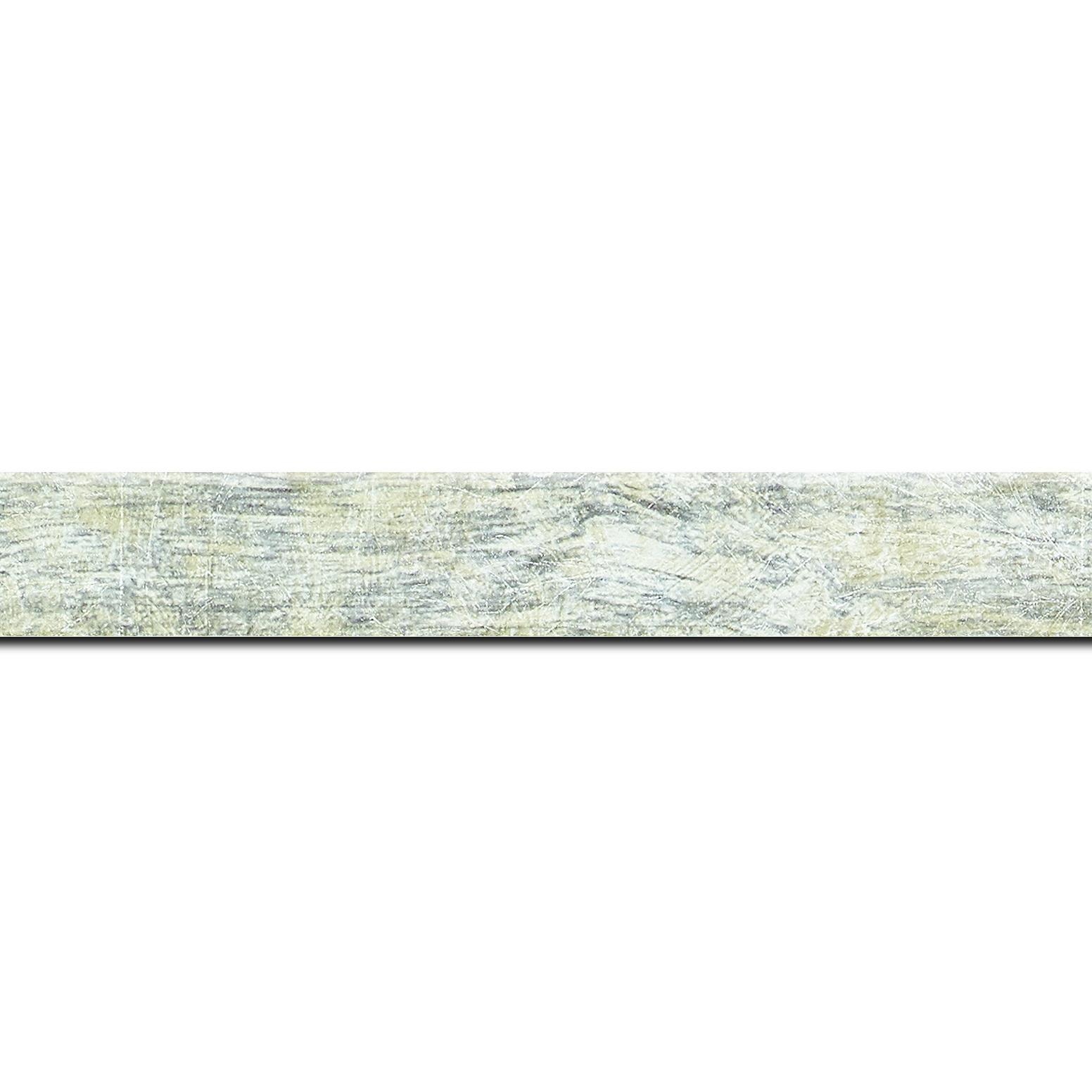 Pack par 12m, bois profil plat largeur 2.5cm hauteur 4.8cm argent effet marbré (hauteur feuillure 4.3cm )(longueur baguette pouvant varier entre 2.40m et 3m selon arrivage des bois)