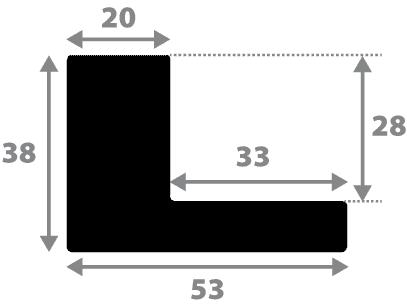 Baguette coupe droite bois caisse américaine profil en l (flottante) largeur 4.5cm noir mat finition pore bouché plat extérieur largeur 2cm qualité galerie (spécialement conçu pour les châssis d'une épaisseur jusqu'à 3cm ) information complémentaire : il faut renseigner la dimension précise de votre sujet  et l'espace intérieur entre la toile et le cadre sera de 2cm