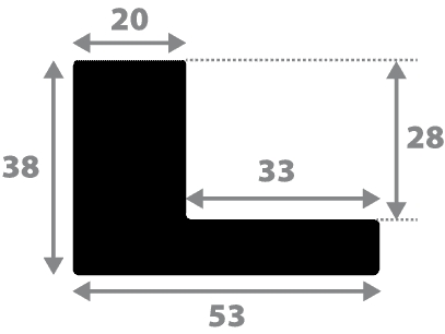 Baguette precoupe bois caisse américaine profil en l (flottante) largeur 4.5cm noir mat finition pore bouché plat extérieur largeur 2cm qualité galerie (spécialement conçu pour les châssis d'une épaisseur jusqu'à 3cm ) information complémentaire : il faut renseigner la dimension précise de votre sujet  et l'espace intérieur entre la toile et le cadre sera de 2cm