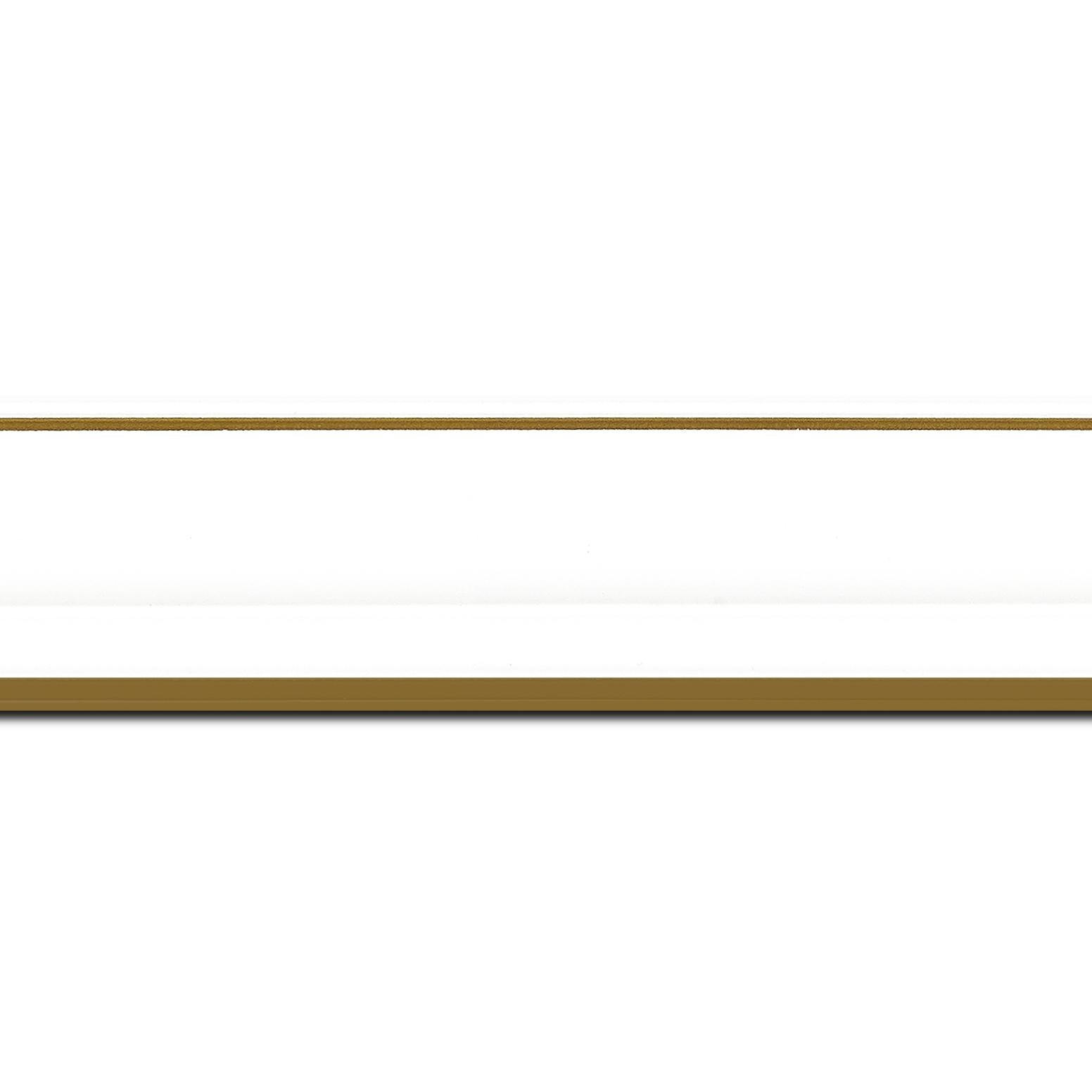 Pack par 12m, bois profil doucine inversée largeur 4.4cm  couleur blanc satiné filet or (longueur baguette pouvant varier entre 2.40m et 3m selon arrivage des bois)
