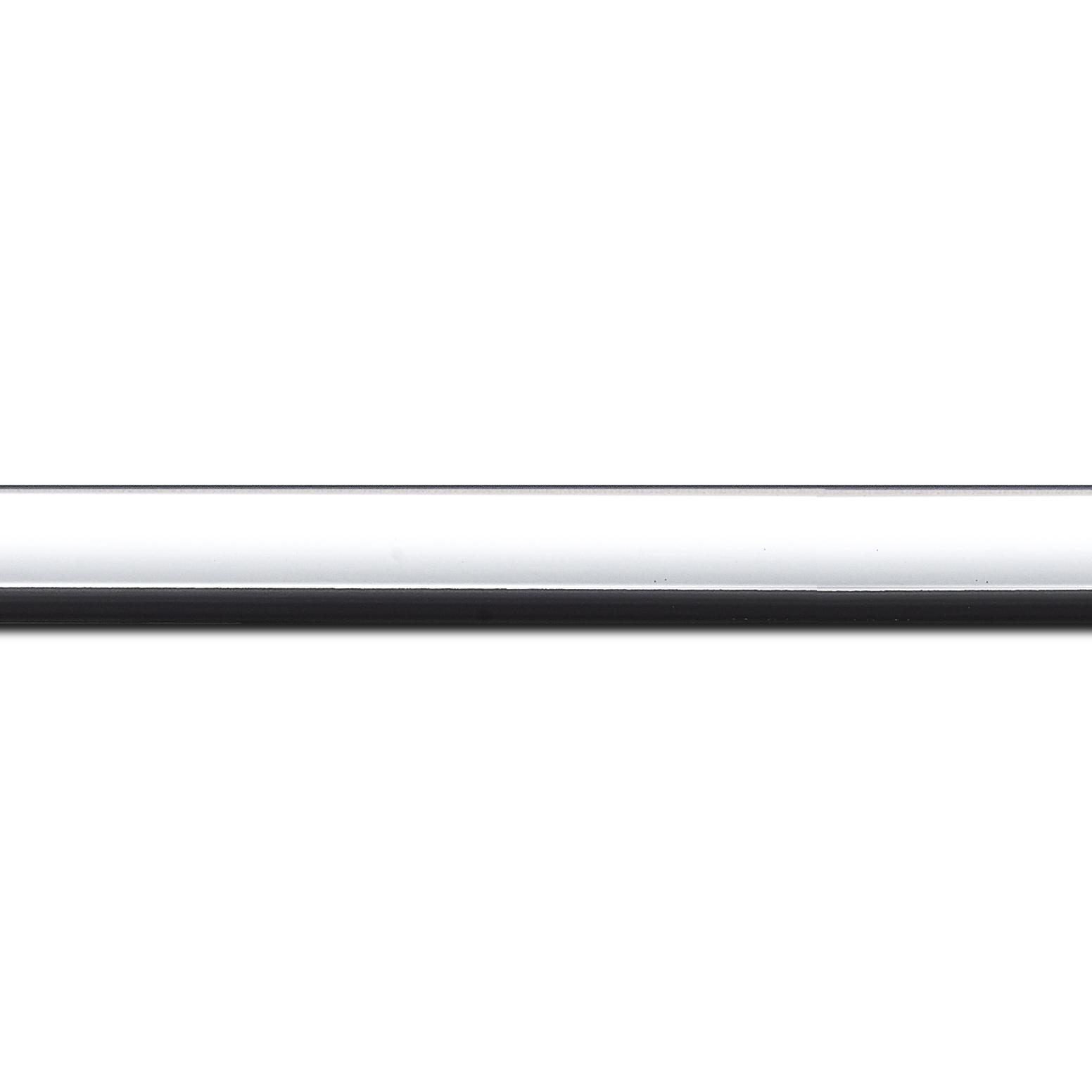 Pack par 12m, bois profil arrondi largeur 2.1cm  couleur blanc mat filet noir  (longueur baguette pouvant varier entre 2.40m et 3m selon arrivage des bois)