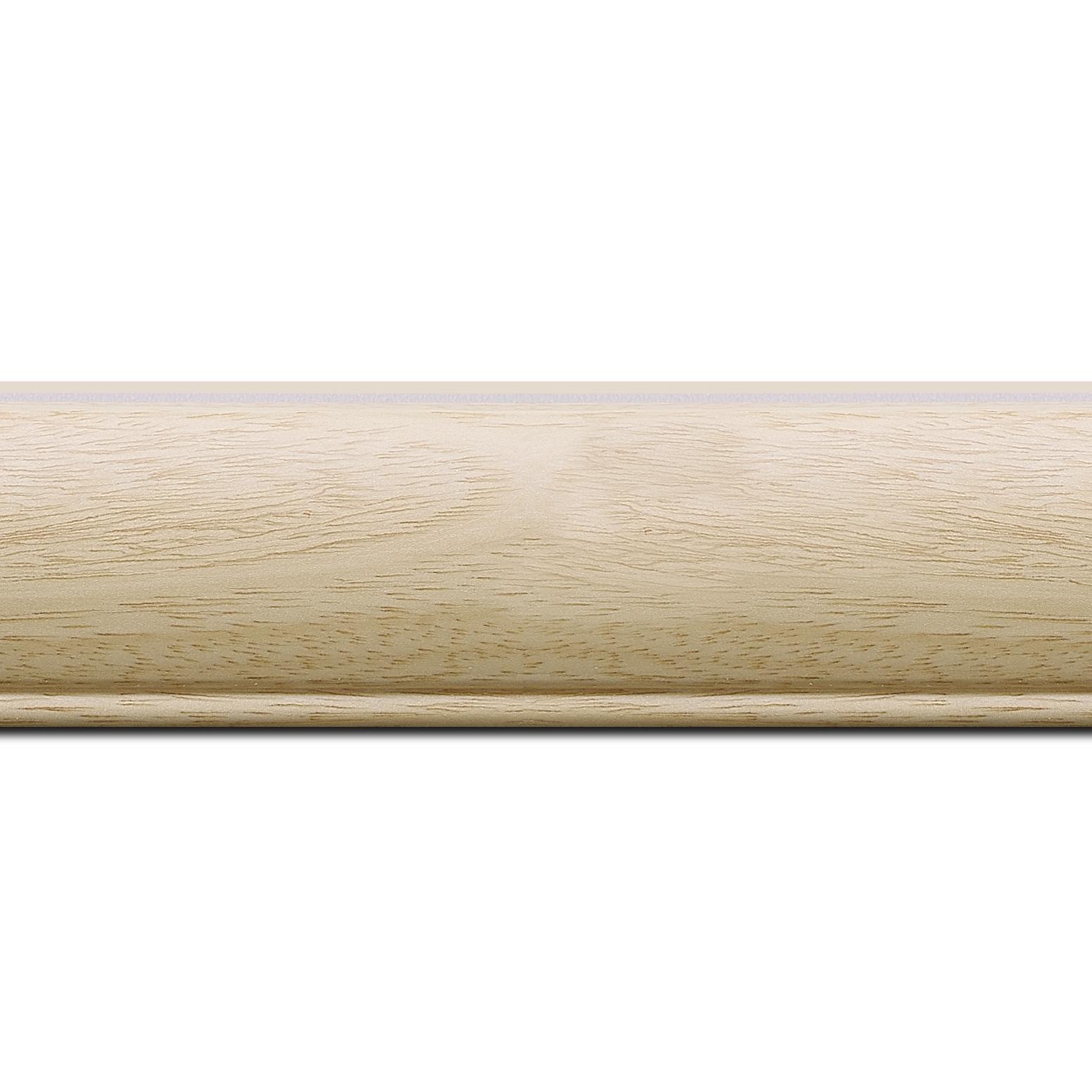 Pack par 12m, bois profil arrondi largeur 4.7cm couleur naturel satiné (longueur baguette pouvant varier entre 2.40m et 3m selon arrivage des bois)