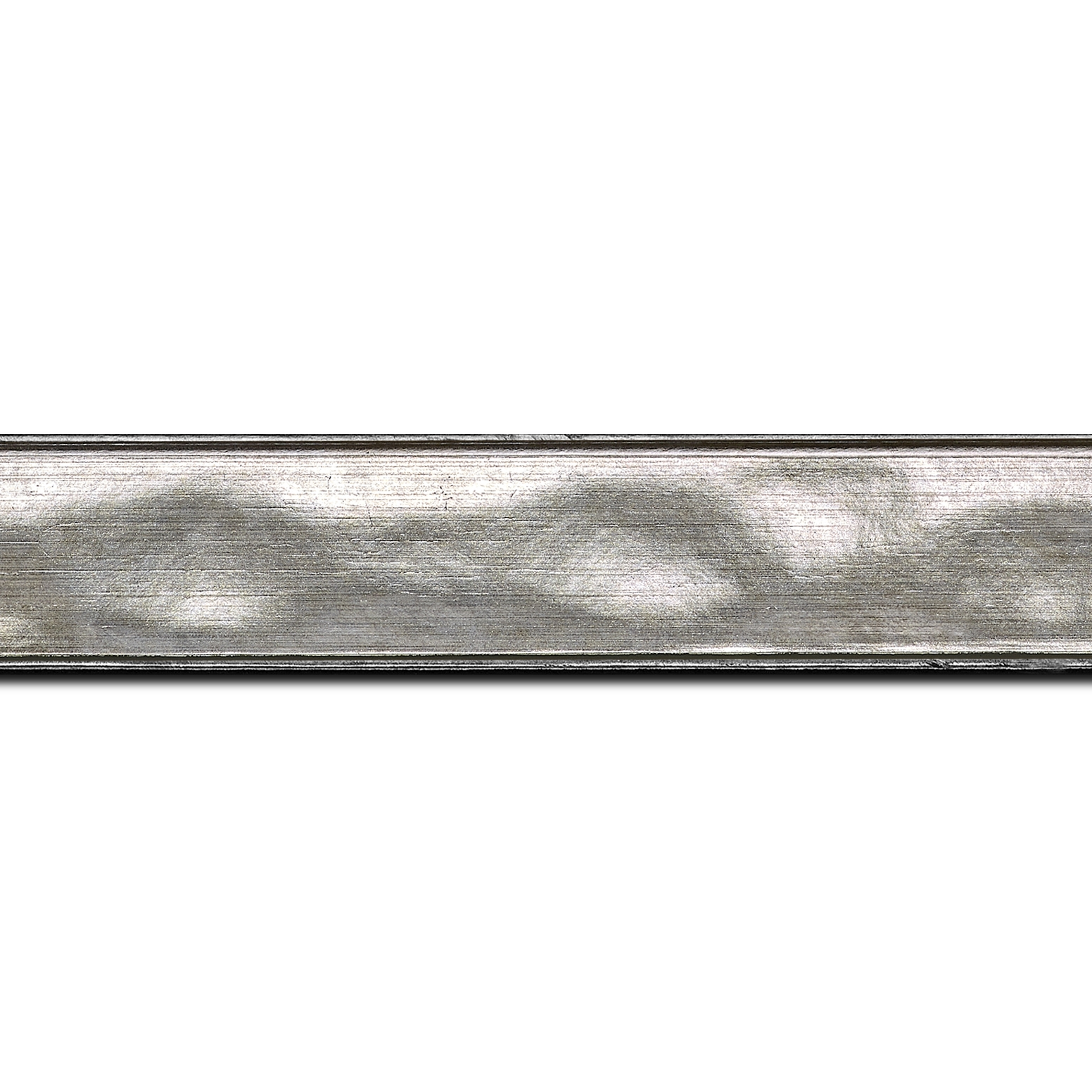 Baguette longueur 1.40m bois profil en pente bosselé largeur 3.3cm couleur argent