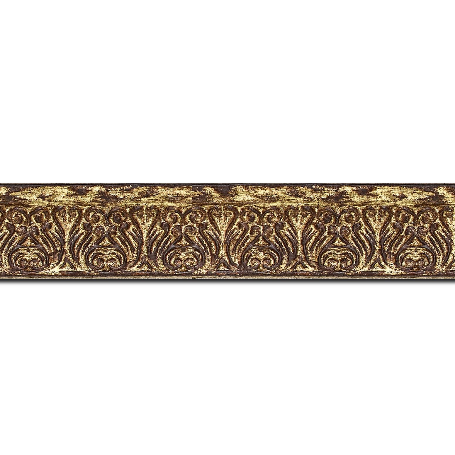 Pack par 12m, bois profil incurvé largeur 3cm or antique vieilli à la feuille style (longueur baguette pouvant varier entre 2.40m et 3m selon arrivage des bois)