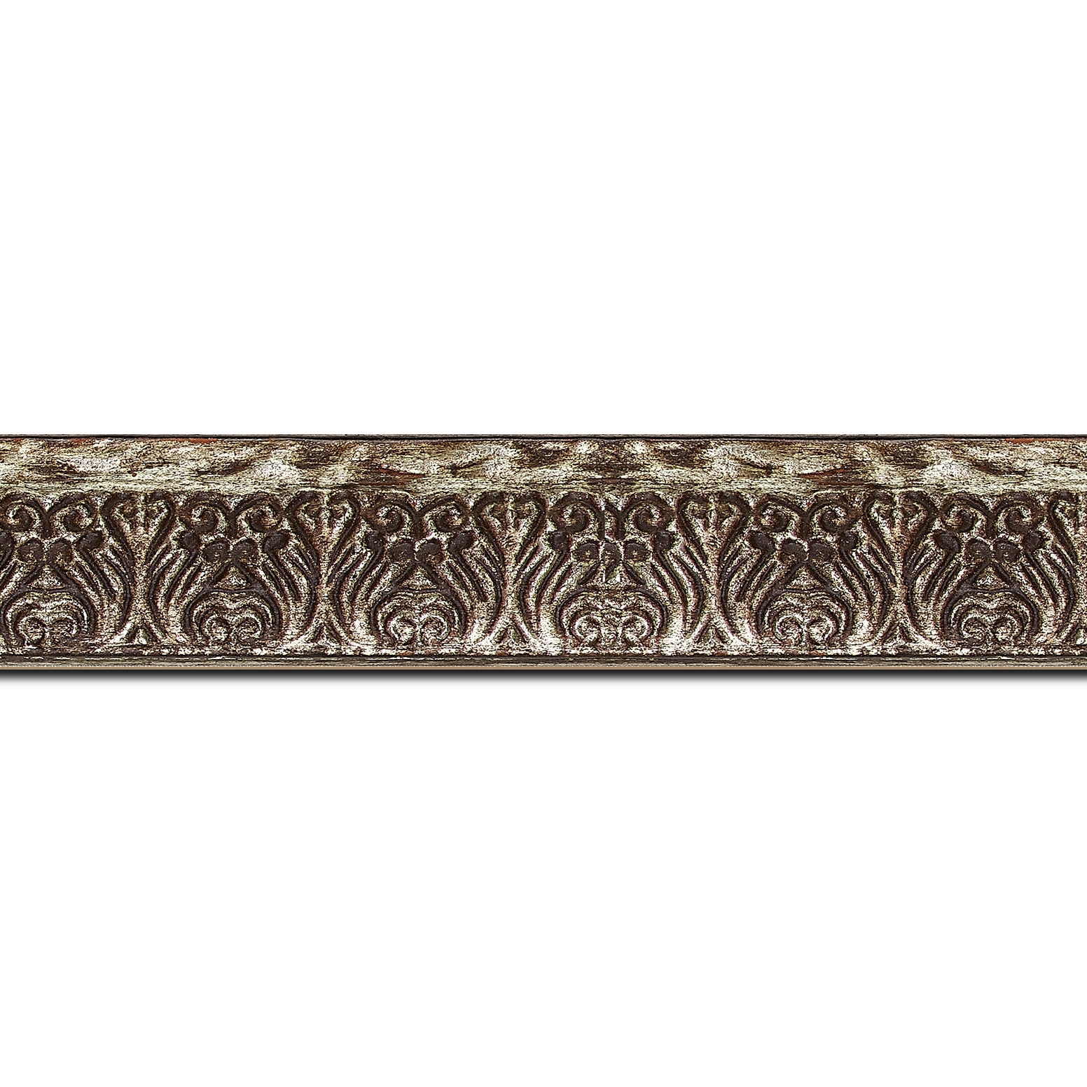 Baguette longueur 1.40m bois profil incurvé largeur 3cm argent chaud antique vieilli à la feuille style