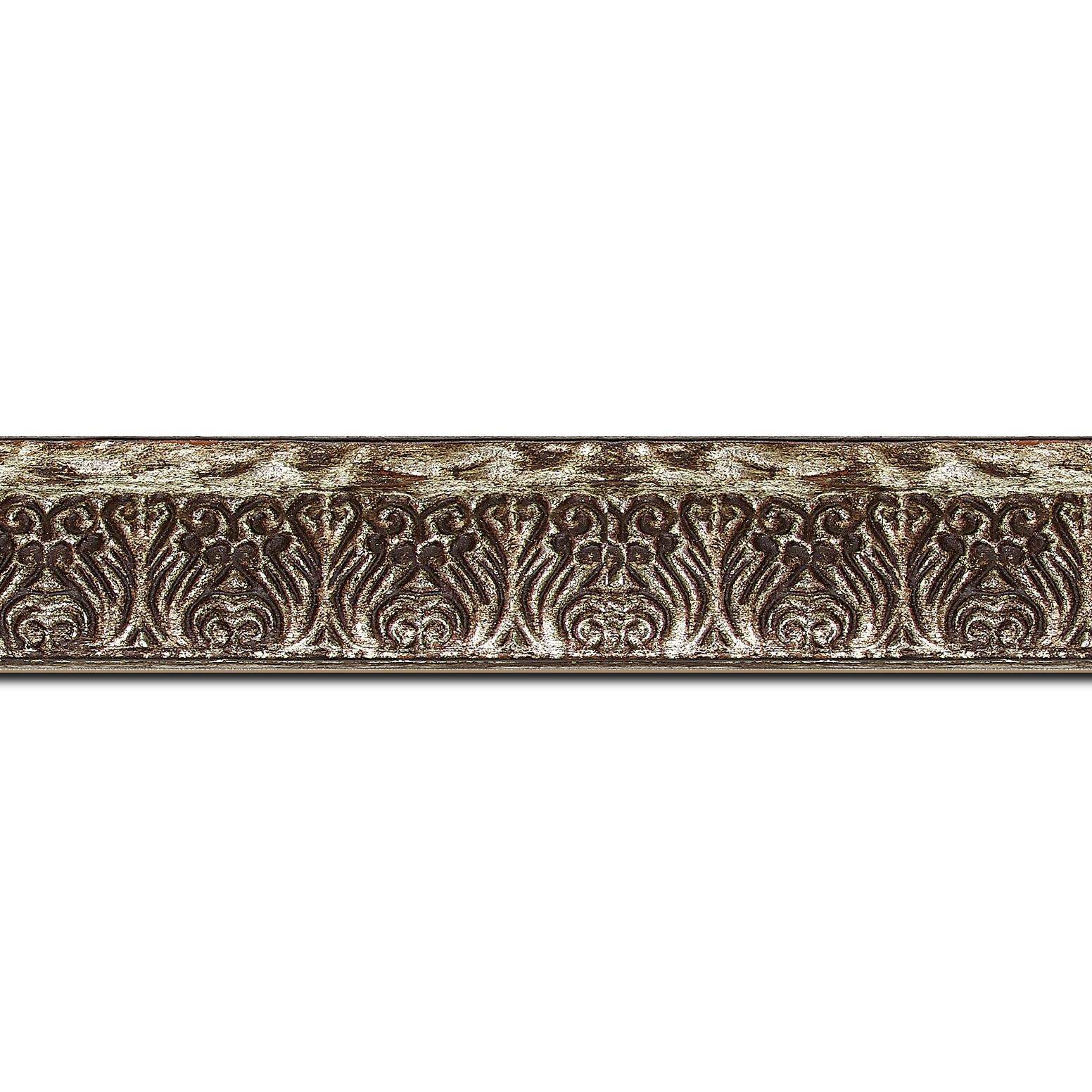 Pack par 12m, bois profil incurvé largeur 3cm argent chaud antique vieilli à la feuille style (longueur baguette pouvant varier entre 2.40m et 3m selon arrivage des bois)