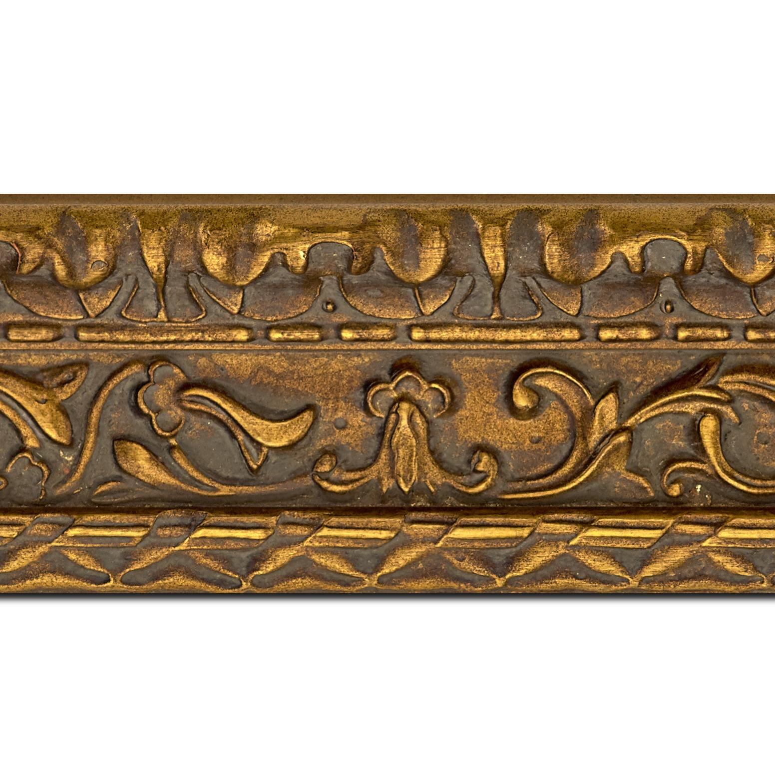 Pack par 12m, bois profil incurvé largeur 9.8cm or antique style ornement (longueur baguette pouvant varier entre 2.40m et 3m selon arrivage des bois)