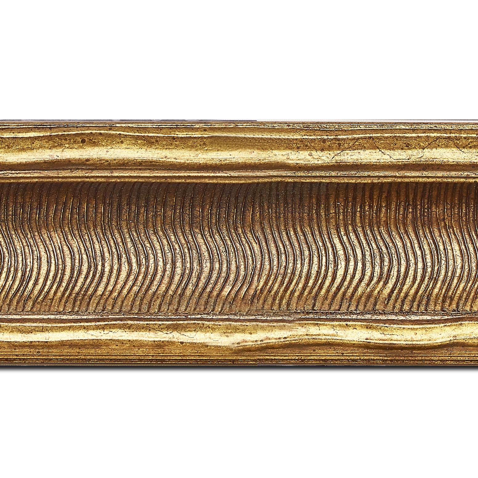 Baguette longueur 1.40m bois profil incurvé largeur 8.5cm or antique