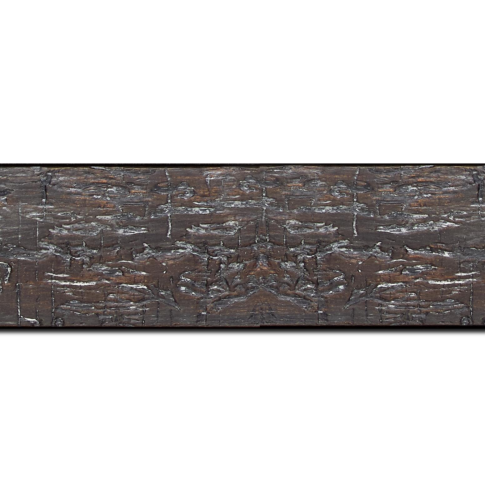 Pack par 12m, bois profil plat largeur 5cm couleur noir anthracite finition bois brut aspect palette (longueur baguette pouvant varier entre 2.40m et 3m selon arrivage des bois)
