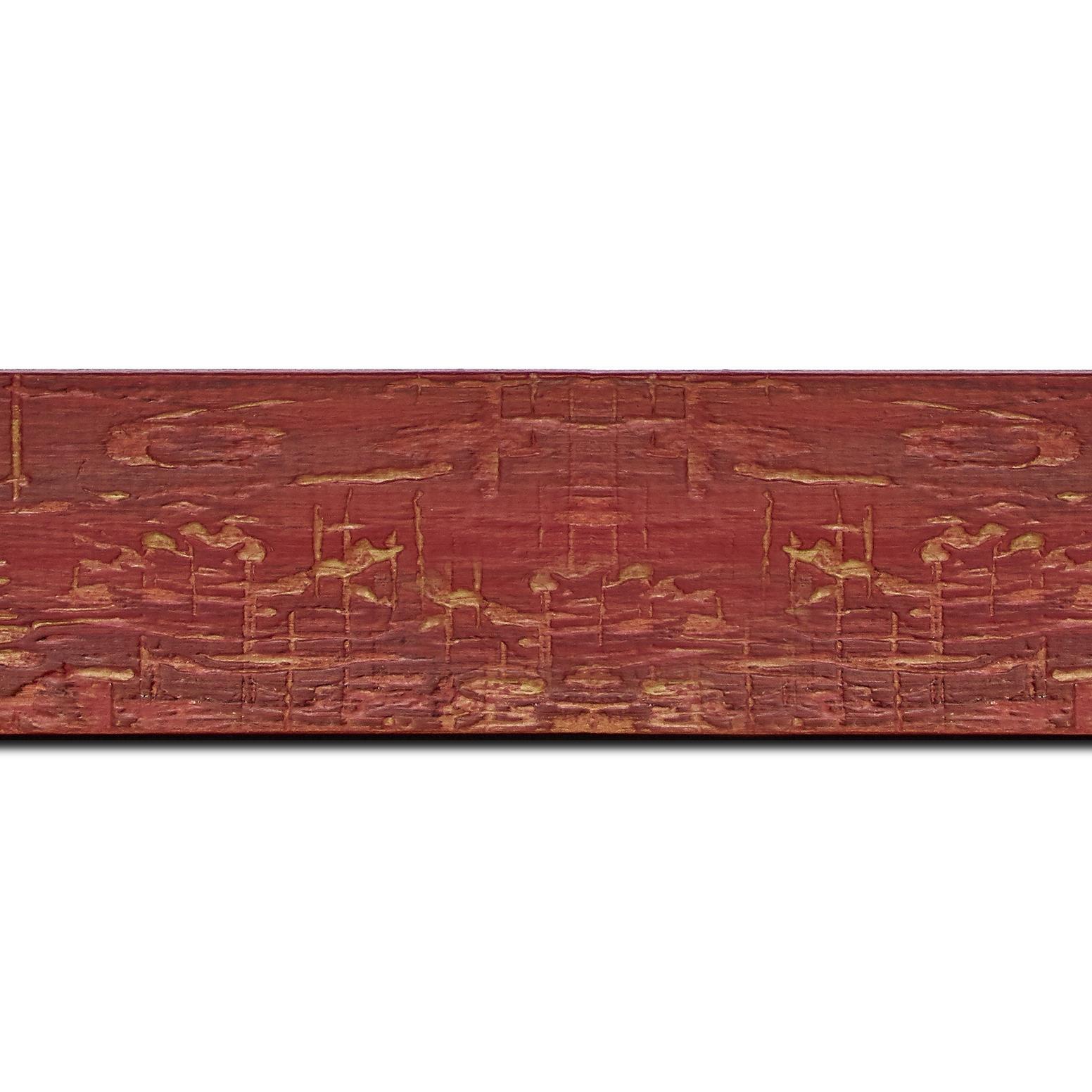 Baguette longueur 1.40m bois profil plat largeur 5cm couleur bordeaux finition bois brut aspect palette