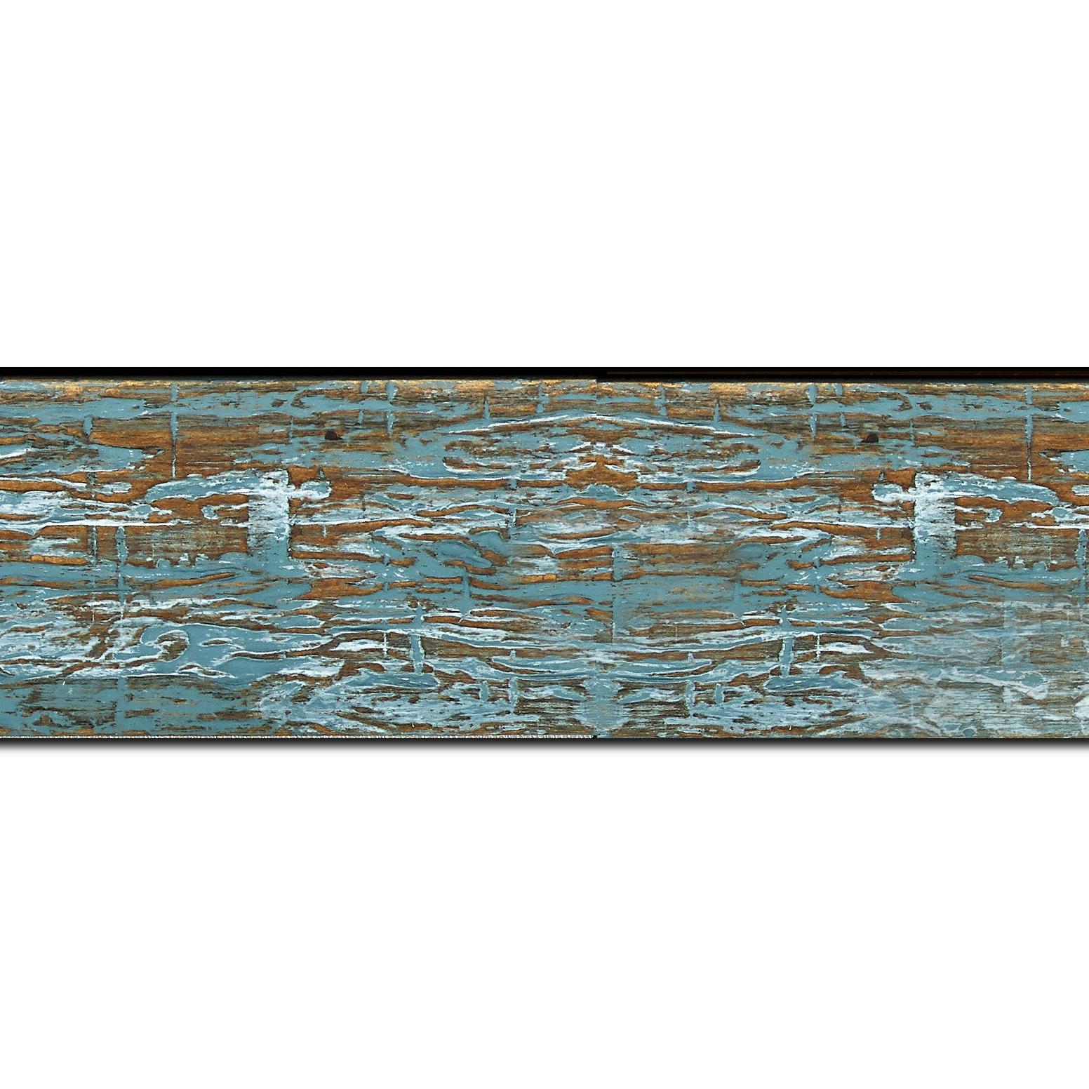 Pack par 12m, bois profil plat largeur 5cm couleur bleu turquoise finition bois brut aspect palette (longueur baguette pouvant varier entre 2.40m et 3m selon arrivage des bois)