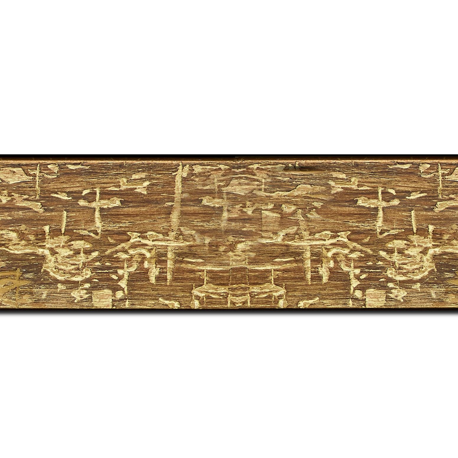 Pack par 12m, bois profil plat largeur 5cm couleur marron jauni finition bois brut aspect palette (longueur baguette pouvant varier entre 2.40m et 3m selon arrivage des bois)