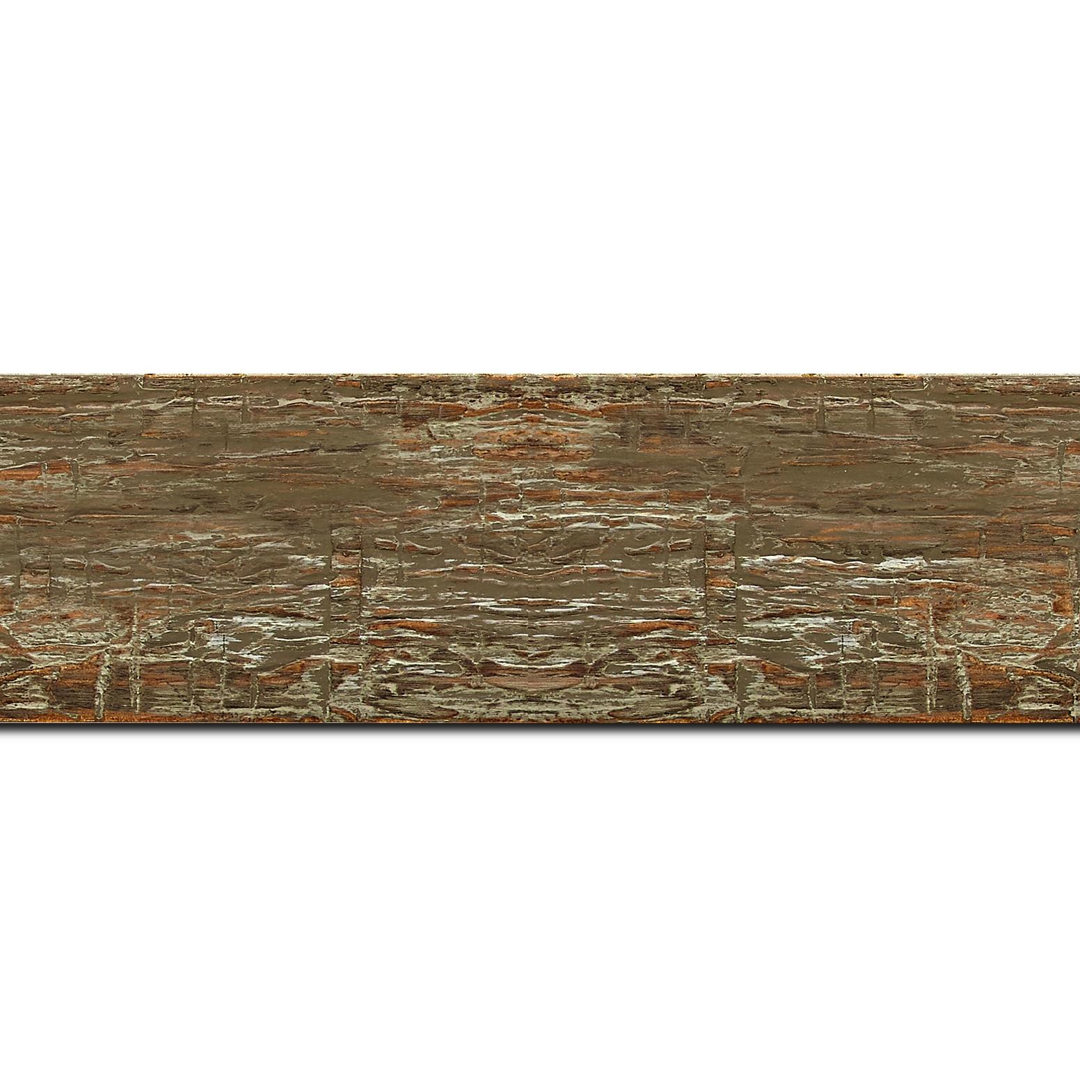 Pack par 12m, bois profil plat largeur 5cm couleur marron vieilli finition bois brut aspect palette (longueur baguette pouvant varier entre 2.40m et 3m selon arrivage des bois)