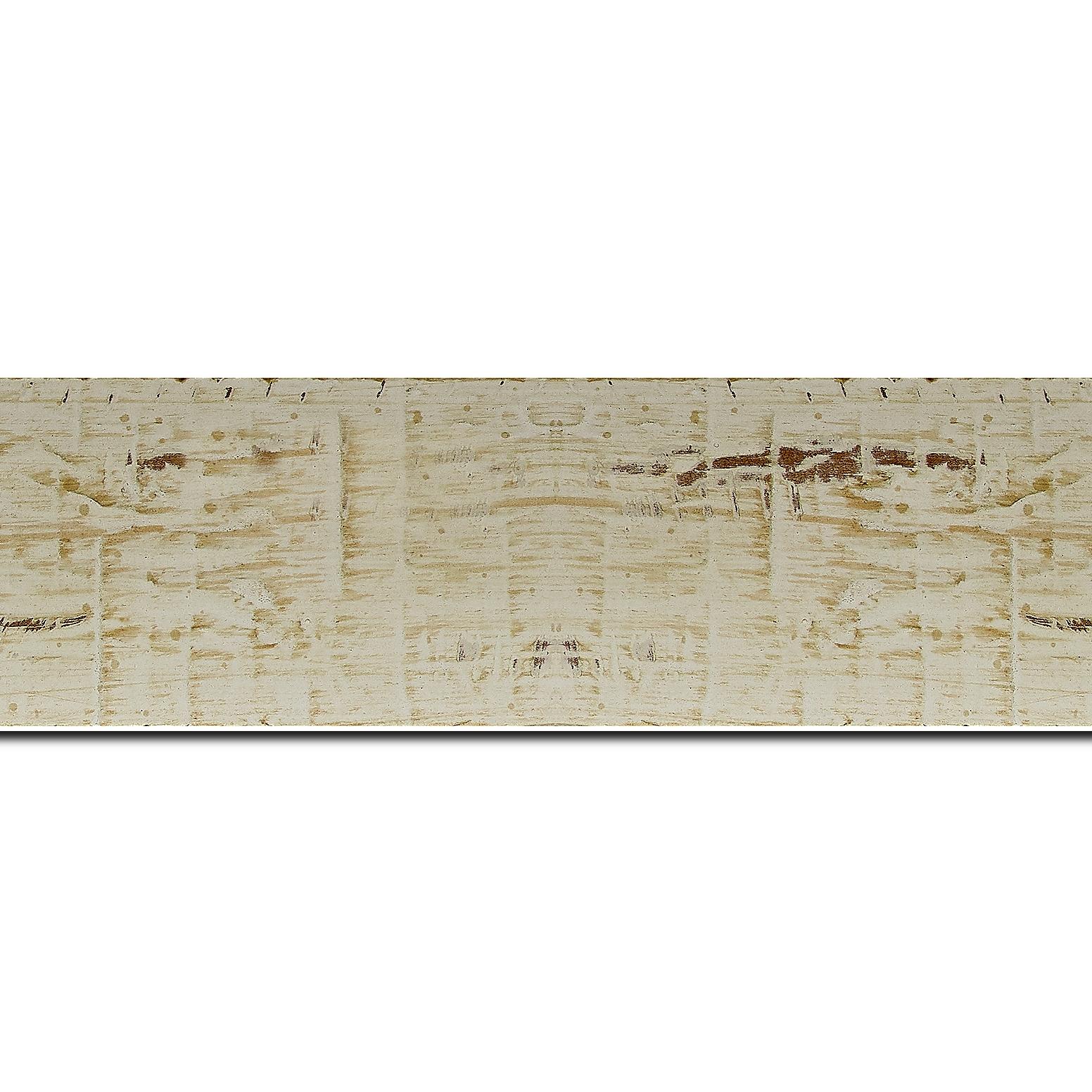 Baguette longueur 1.40m bois profil plat largeur 5cm couleur blanchie finition bois brut aspect palette