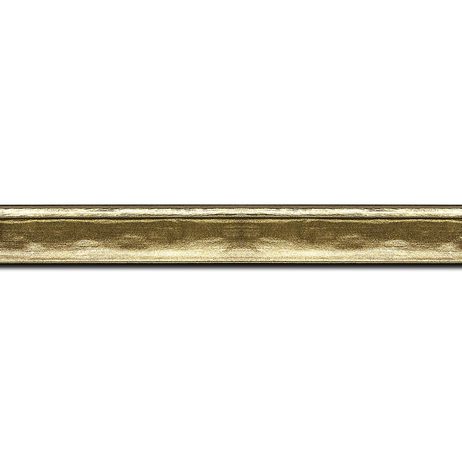 Pack par 12m, bois profil incurvé largeur 2cm or bosselé(longueur baguette pouvant varier entre 2.40m et 3m selon arrivage des bois)