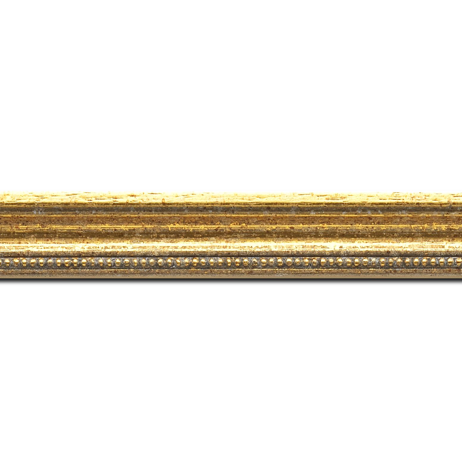 Pack par 12m, bois profil incuvé largeur 2.4cm  or antique gorge or filet perle or(longueur baguette pouvant varier entre 2.40m et 3m selon arrivage des bois)