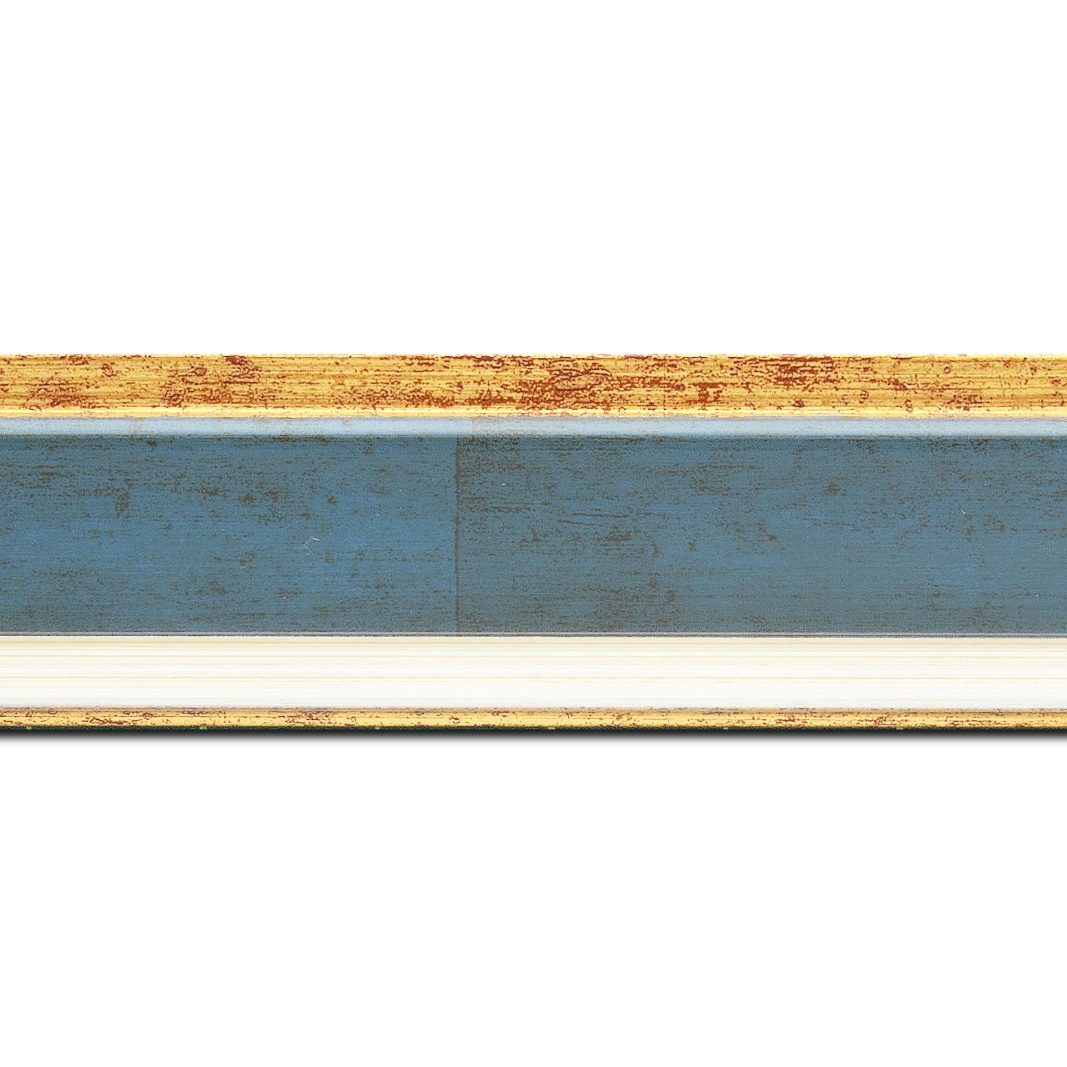 Pack par 12m, bois profil incliné largeur 5.4cm couleur bleu cobalt marie louise crème filet or intégrée(longueur baguette pouvant varier entre 2.40m et 3m selon arrivage des bois)
