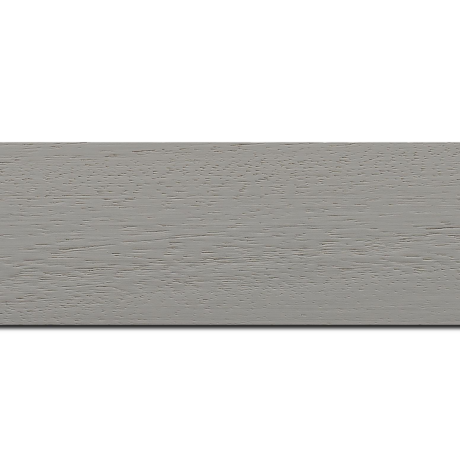 Pack par 12m, bois profil plat largeur 5.9cm couleur gris clair satiné (longueur baguette pouvant varier entre 2.40m et 3m selon arrivage des bois)