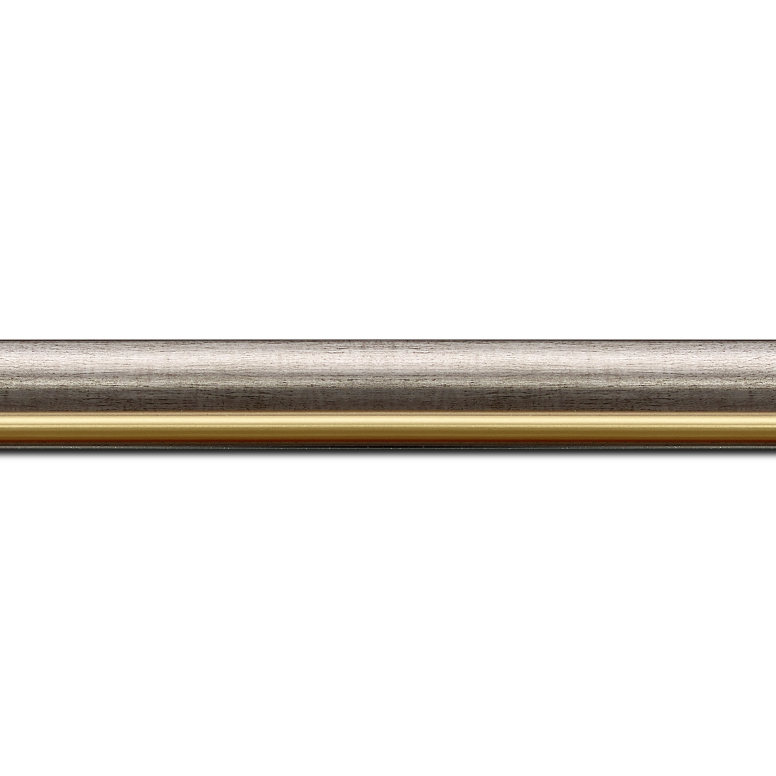 Pack par 12m, bois profil arrondi largeur 2.1cm  couleur plomb filet or  (longueur baguette pouvant varier entre 2.40m et 3m selon arrivage des bois)
