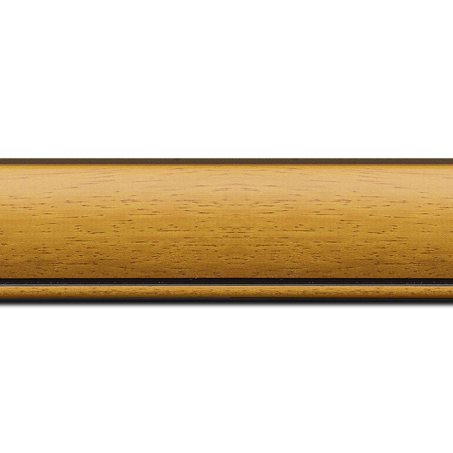 Pack par 12m, bois profil arrondi largeur 4.7cm couleur jaune tournesol satiné rehaussé d'un filet noir(longueur baguette pouvant varier entre 2.40m et 3m selon arrivage des bois)