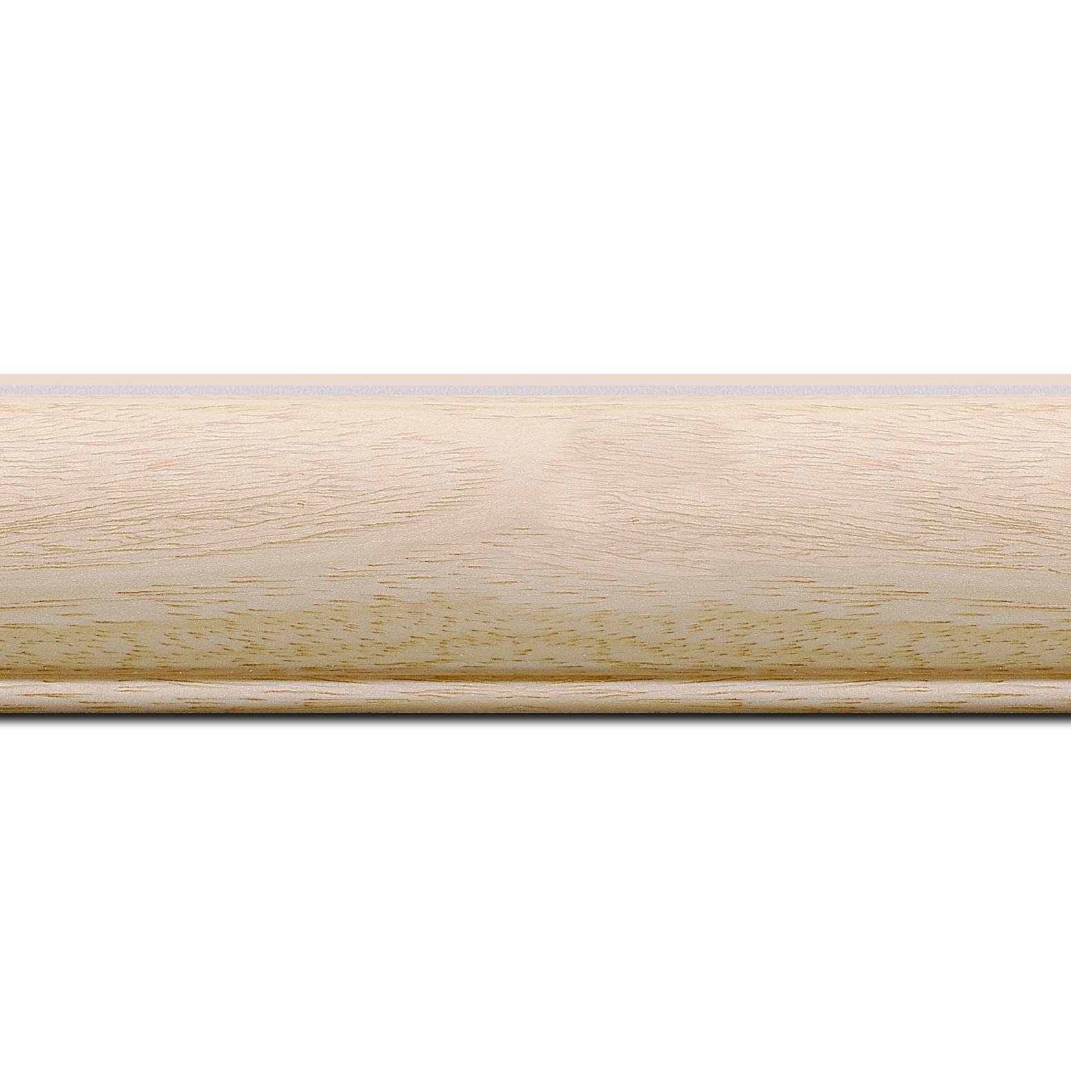 Pack par 12m, bois profil arrondi largeur 4.7cm ayous massif naturel (sans vernis, peut être peint...)  (longueur baguette pouvant varier entre 2.40m et 3m selon arrivage des bois)