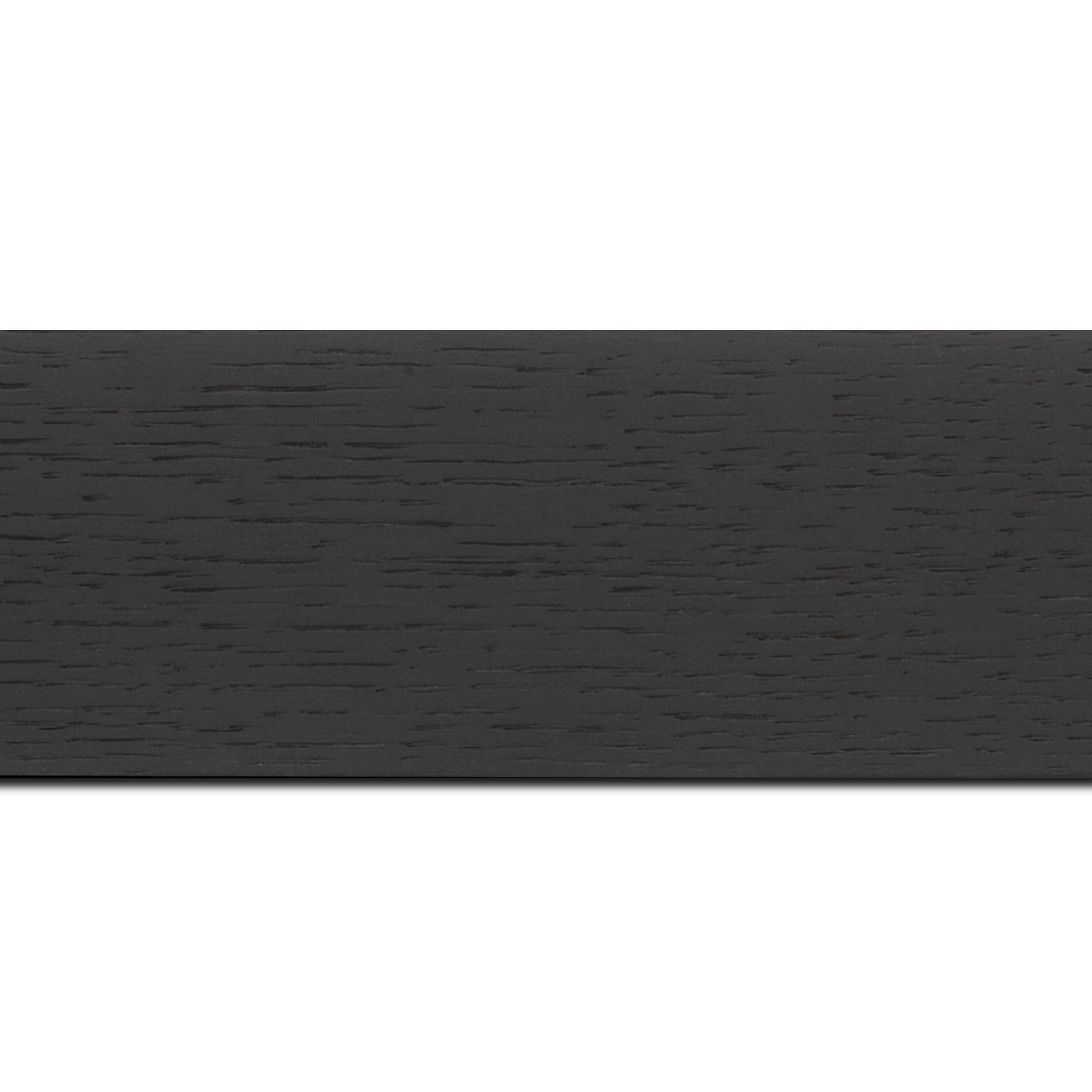 Pack par 12m, bois profil plat largeur 6.3cm plaquage haut de gamme chêne teinté noir (longueur baguette pouvant varier entre 2.40m et 3m selon arrivage des bois)