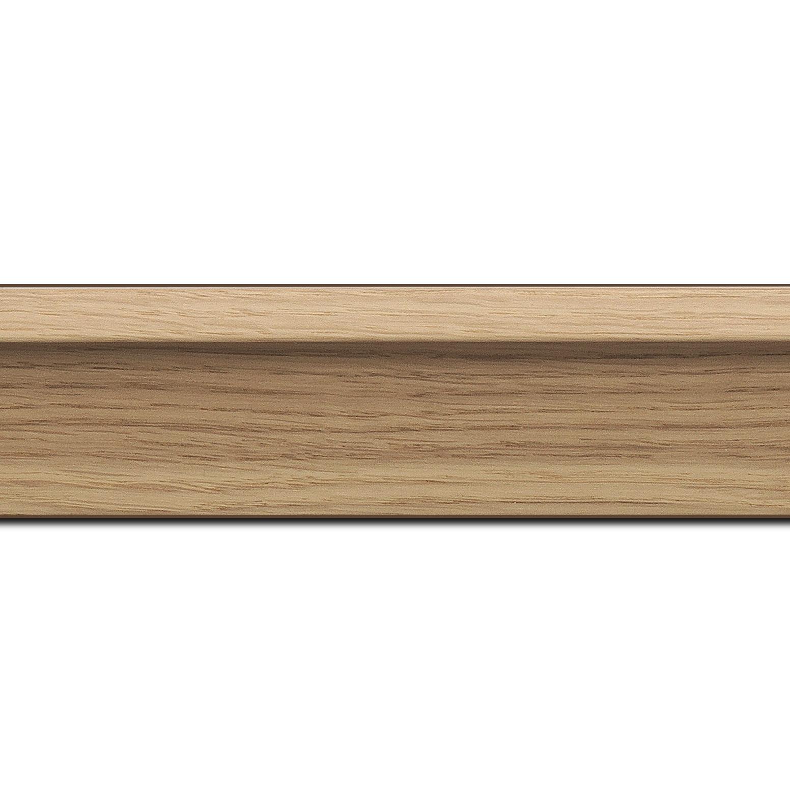 Pack par 12m, bois caisse américaine profil en l largeur 4.5cm placage haut de gamme chêne naturel (spécialement conçu pour les châssis d'une épaisseur jusqu'à 3.5cm ) information complémentaire : il faut renseigner la dimension précise de votre sujet  et l'espace intérieur entre la toile et le cadre sera de 1.5cm (longueur baguette pouvant varier entre 2.40m et 3m selon arrivage des bois)