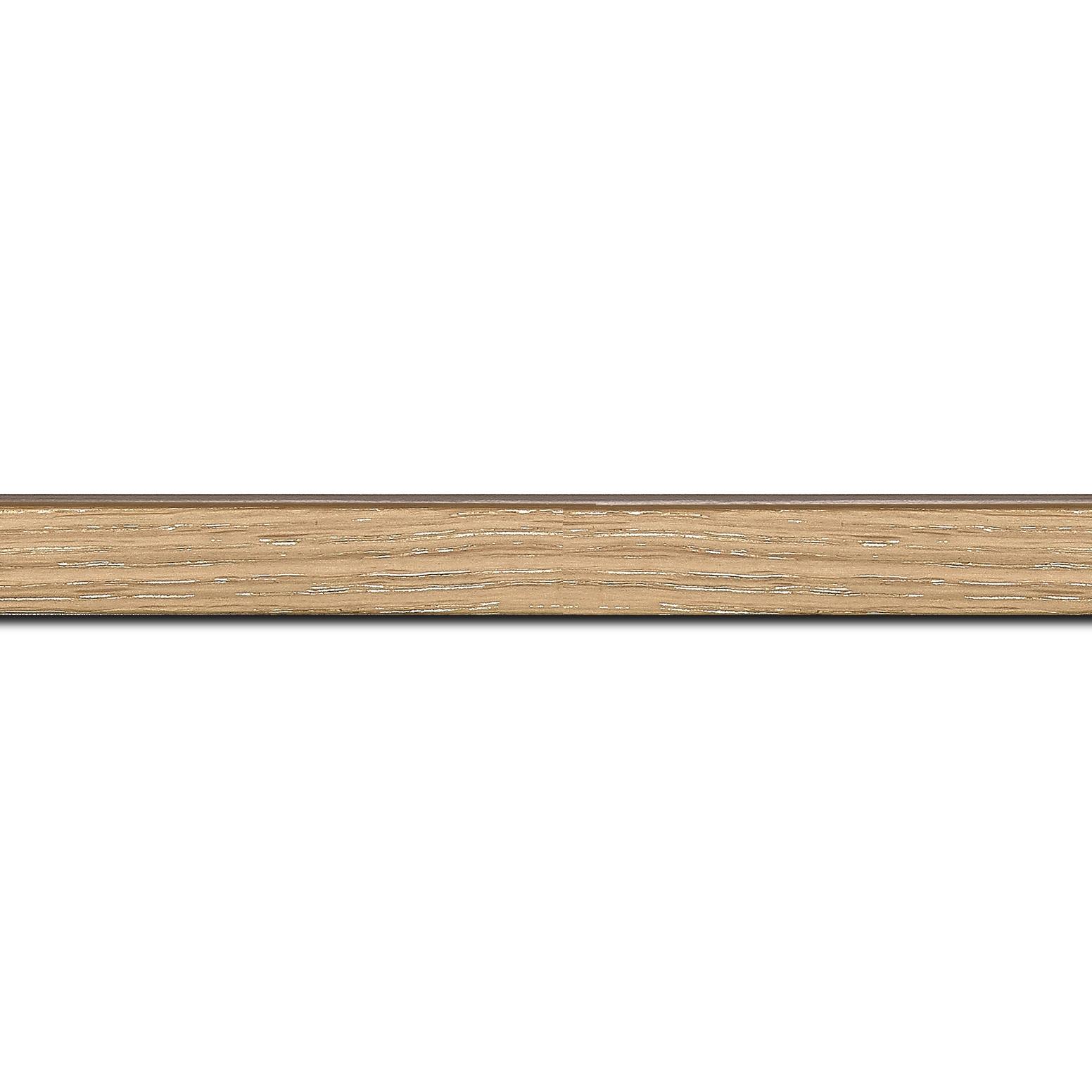 Pack par 12m, bois profil plat largeur 1.5cm  plaquage chêne blanchi haut de gamme(longueur baguette pouvant varier entre 2.40m et 3m selon arrivage des bois)