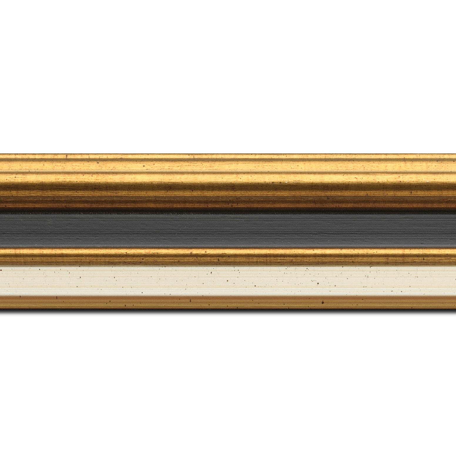 Pack par 12m, bois largeur 5.2cm or gorge noire  marie louise crème filet or intégrée(longueur baguette pouvant varier entre 2.40m et 3m selon arrivage des bois)