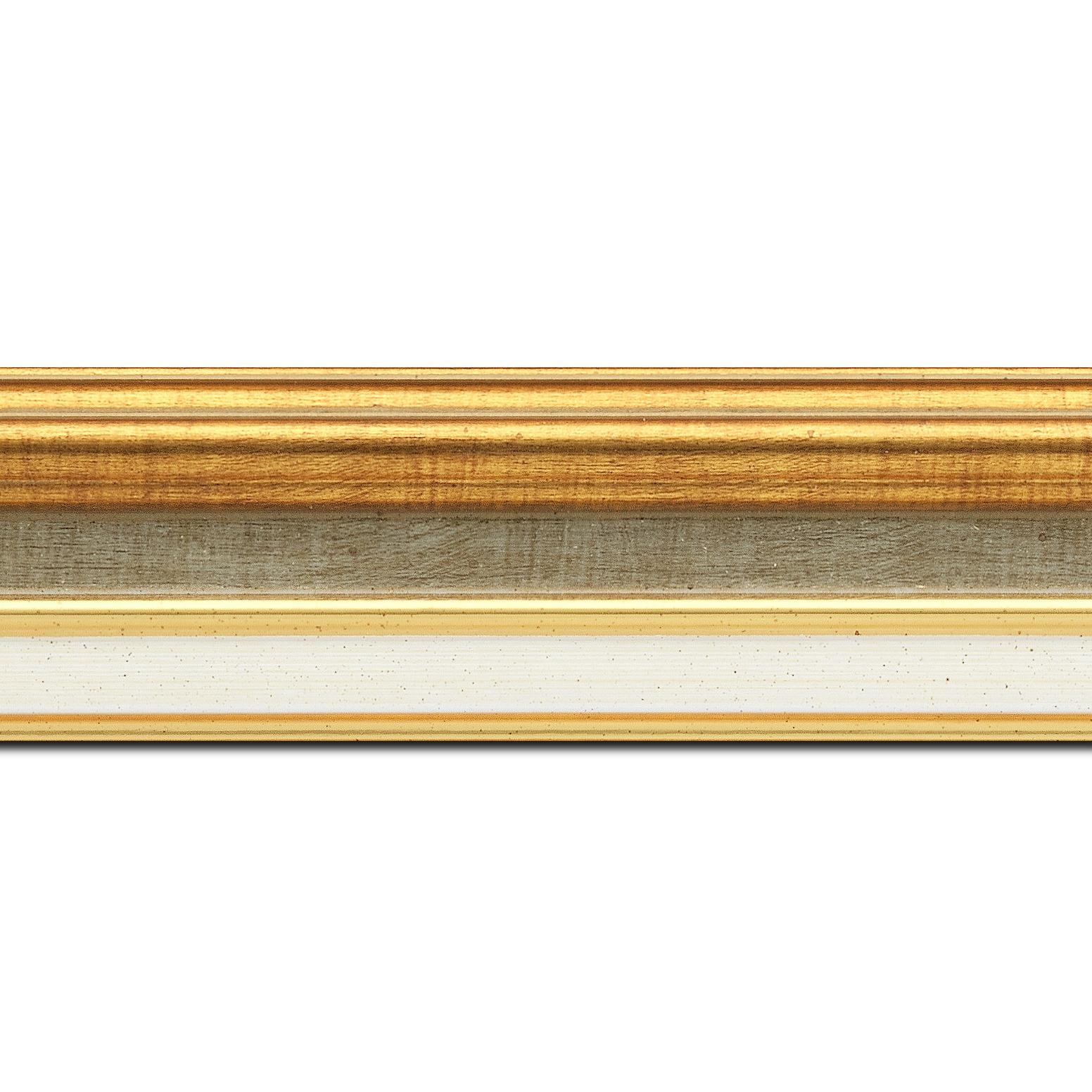 Pack par 12m, bois largeur 5.2cm or gorge champagne  marie louise crème filet or intégrée(longueur baguette pouvant varier entre 2.40m et 3m selon arrivage des bois)