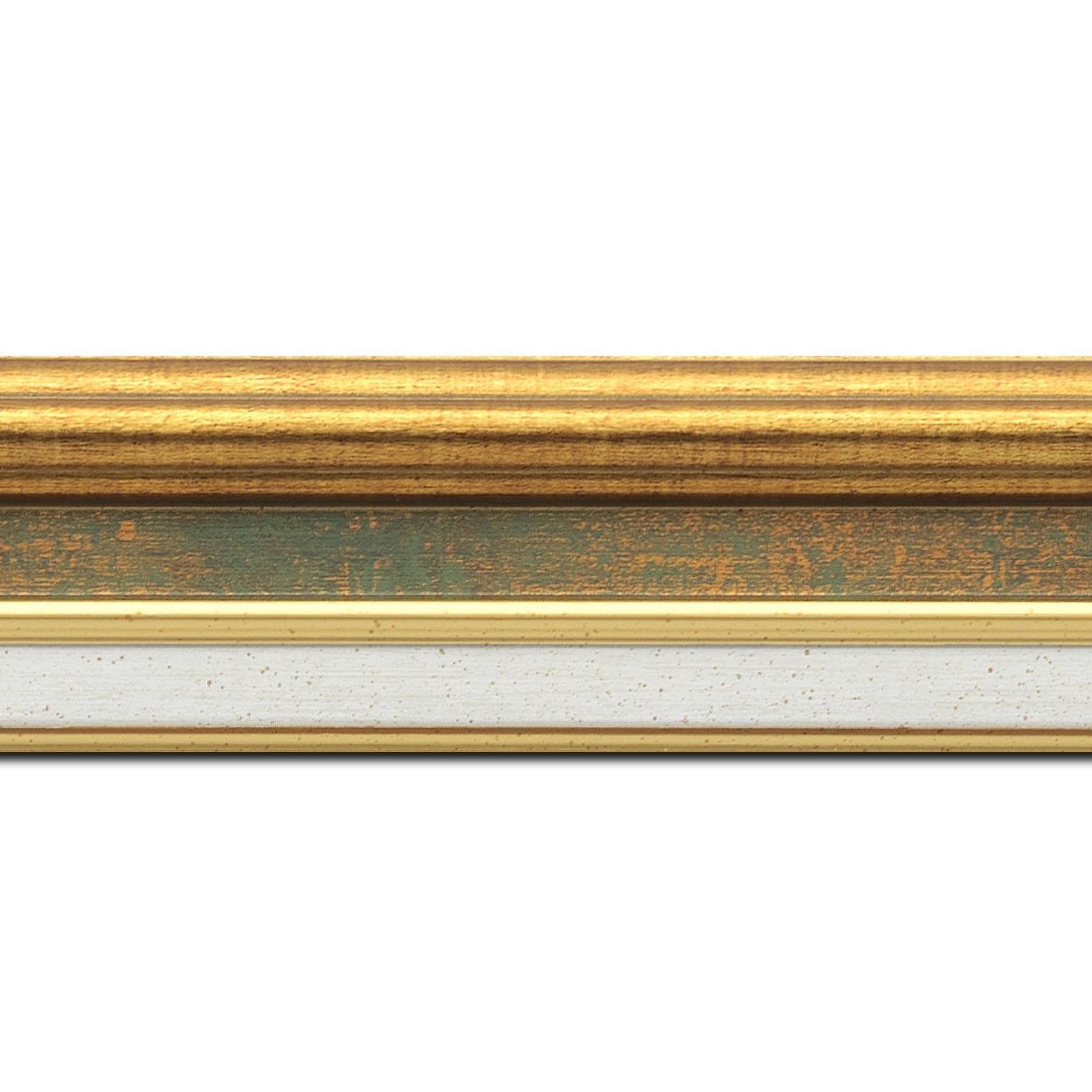 Pack par 12m, bois largeur 5.2cm or gorge vert fond or  marie louise crème filet or intégrée(longueur baguette pouvant varier entre 2.40m et 3m selon arrivage des bois)