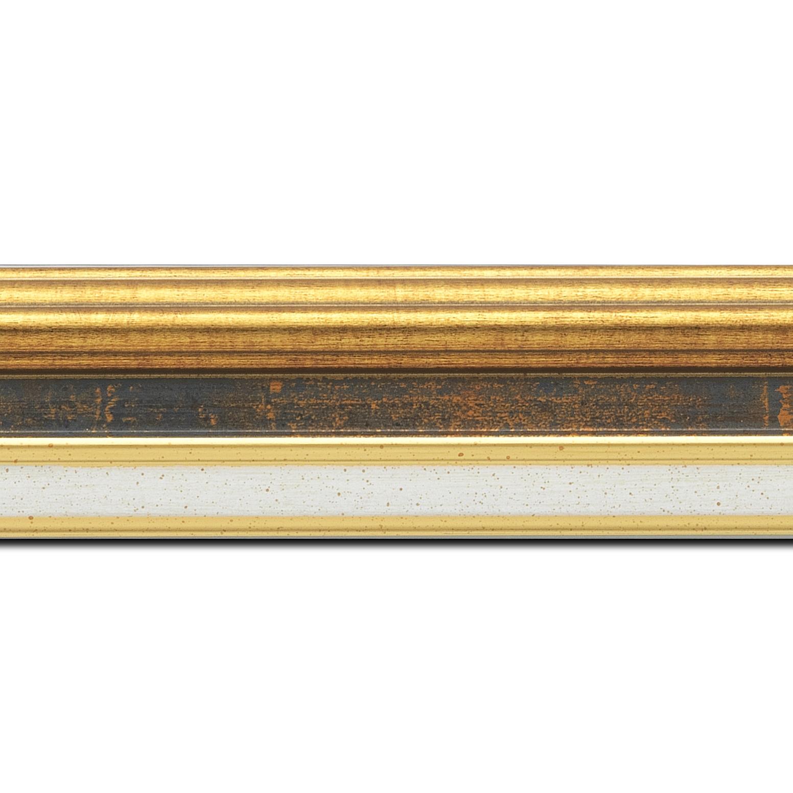 Pack par 12m, bois largeur 5.2cm or gorge bleu fond or marie louise crème filet or intégrée(longueur baguette pouvant varier entre 2.40m et 3m selon arrivage des bois)