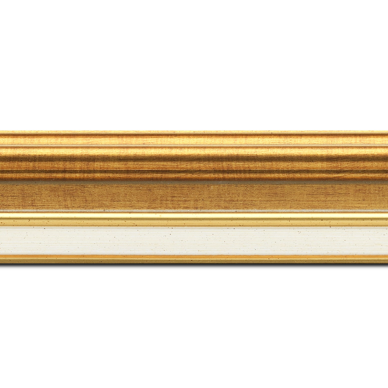 Pack par 12m, bois largeur 5.2cm or gorge or  marie louise crème filet or intégrée(longueur baguette pouvant varier entre 2.40m et 3m selon arrivage des bois)
