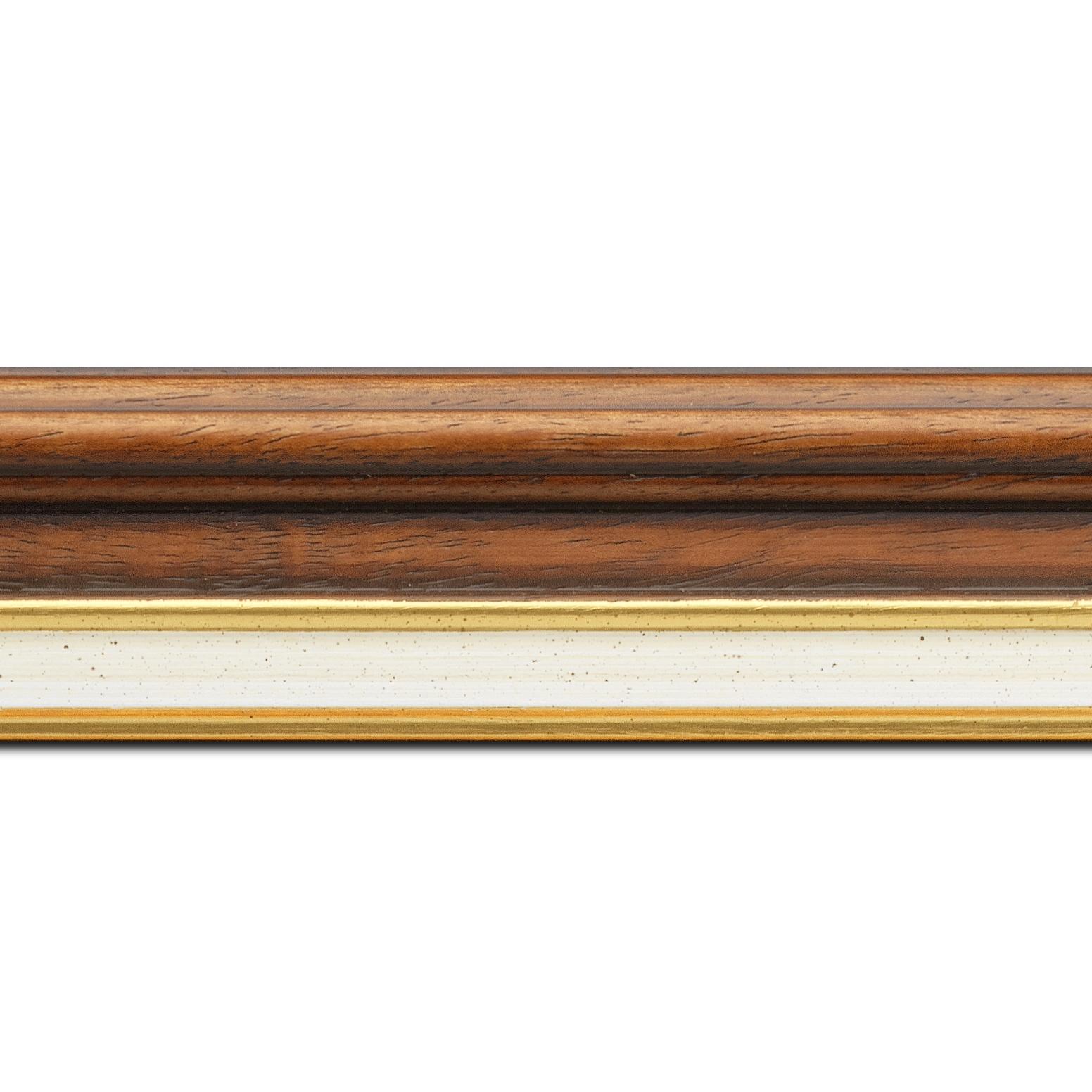 Pack par 12m, bois largeur 5.2cm marron rustique  marie louise crème filet or intégrée(longueur baguette pouvant varier entre 2.40m et 3m selon arrivage des bois)