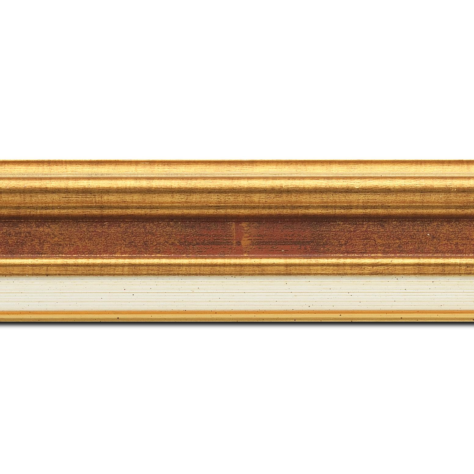 Pack par 12m, bois largeur 5.2cm or gorge bordeaux fond or marie louise crème filet or intégrée(longueur baguette pouvant varier entre 2.40m et 3m selon arrivage des bois)