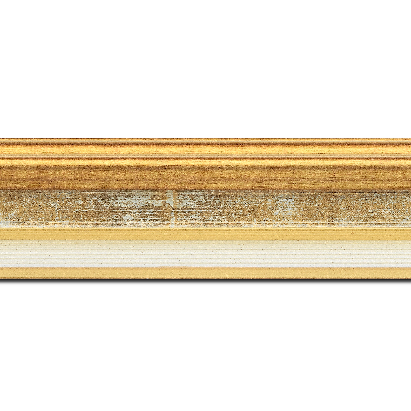 Baguette longueur 1.40m bois largeur 5.2cm or gorge gris fond or  marie louise crème filet or intégrée
