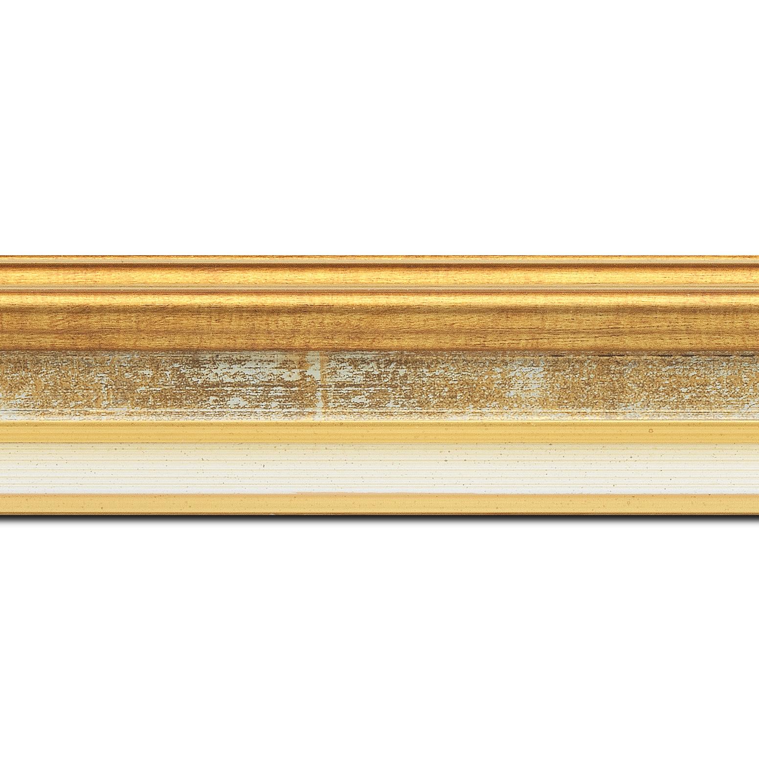 Pack par 12m, bois largeur 5.2cm or gorge gris fond or  marie louise crème filet or intégrée(longueur baguette pouvant varier entre 2.40m et 3m selon arrivage des bois)