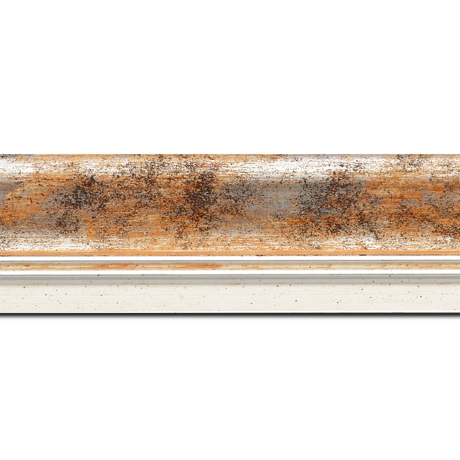 Pack par 12m, bois profil incurvé largeur 5.7cm de couleur orange fond argent marie louise blanche mouchetée filet argent intégré(longueur baguette pouvant varier entre 2.40m et 3m selon arrivage des bois)